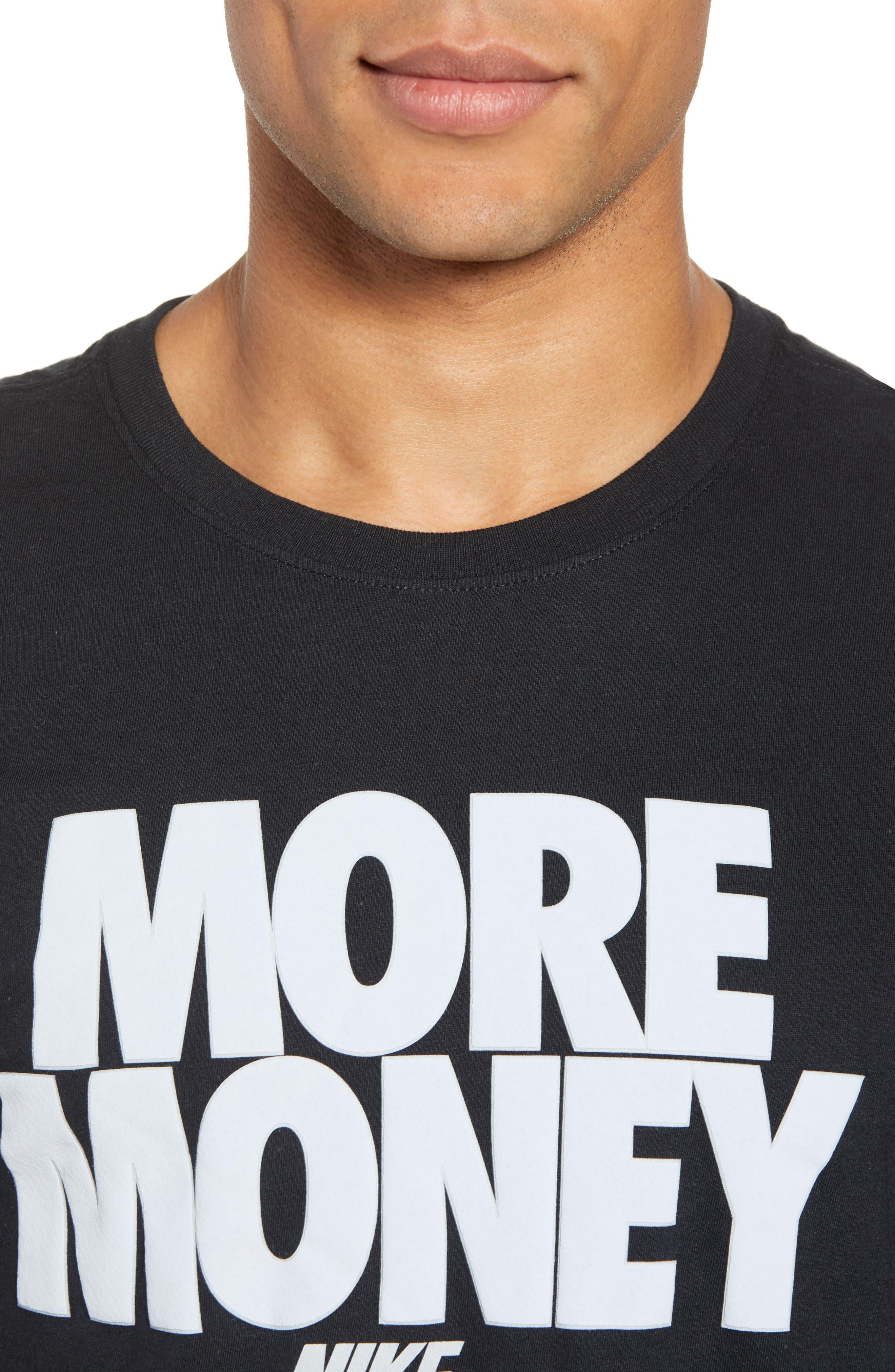 Sportswear More Money T-Shirt,                             Alternate thumbnail 4, color,                             Black/ Metallic Silver