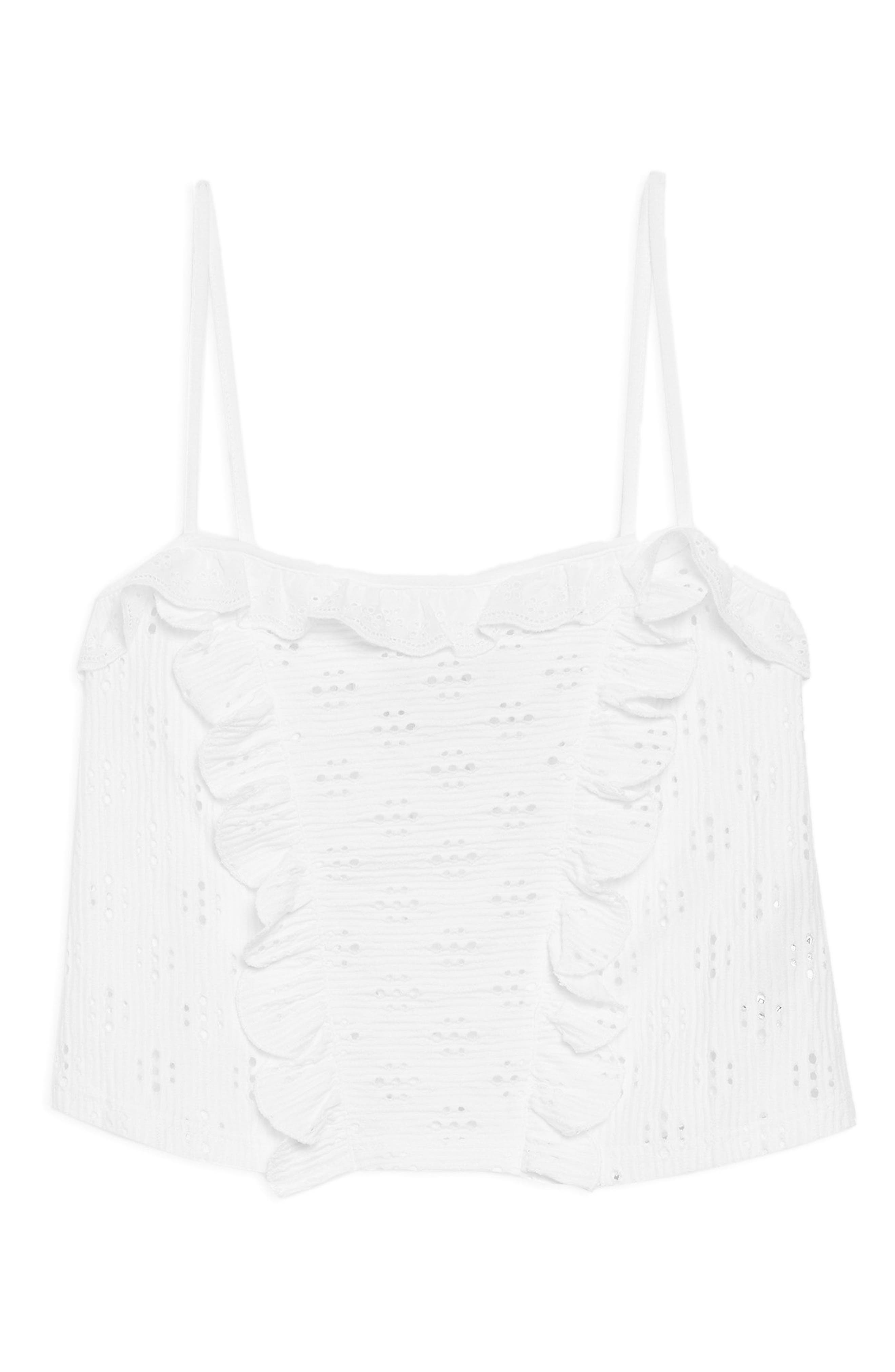 Broderie Trim Camisole Top,                             Alternate thumbnail 4, color,                             White