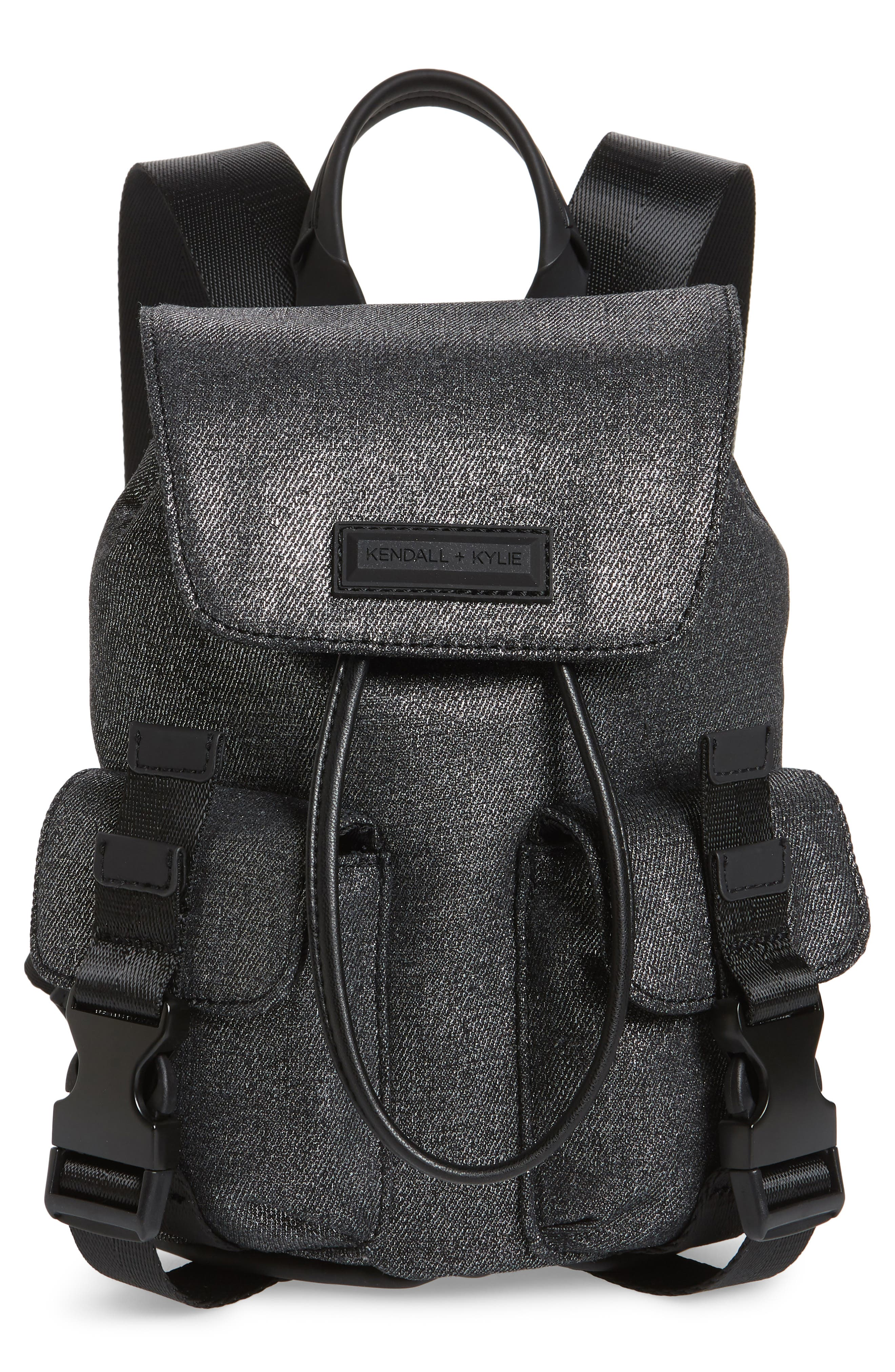 MINI PARKER METALLIC CANVAS BACKPACK - BLACK