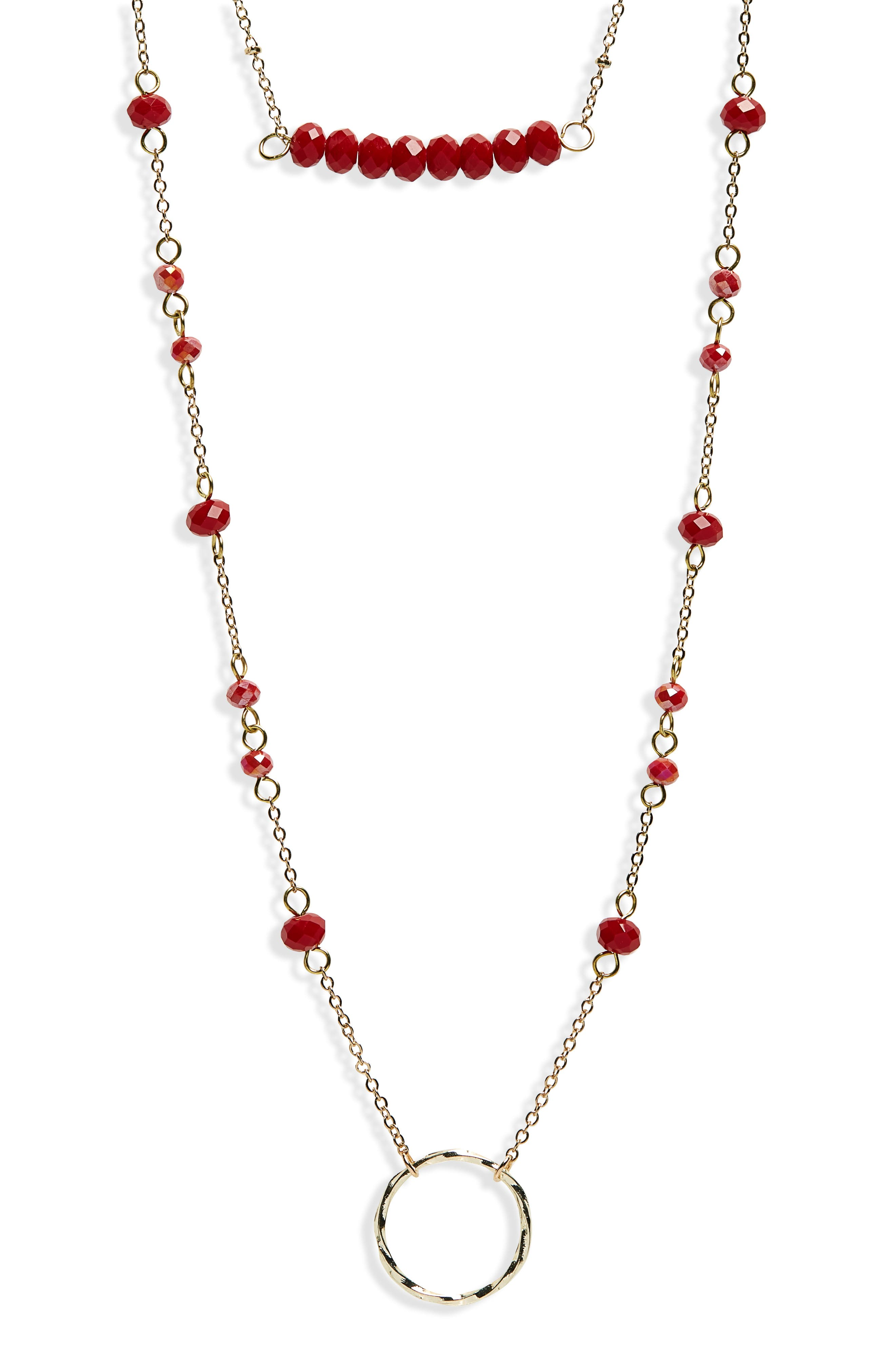 Crystal Layered Pendant Necklace,                             Main thumbnail 1, color,                             Red/ Gold