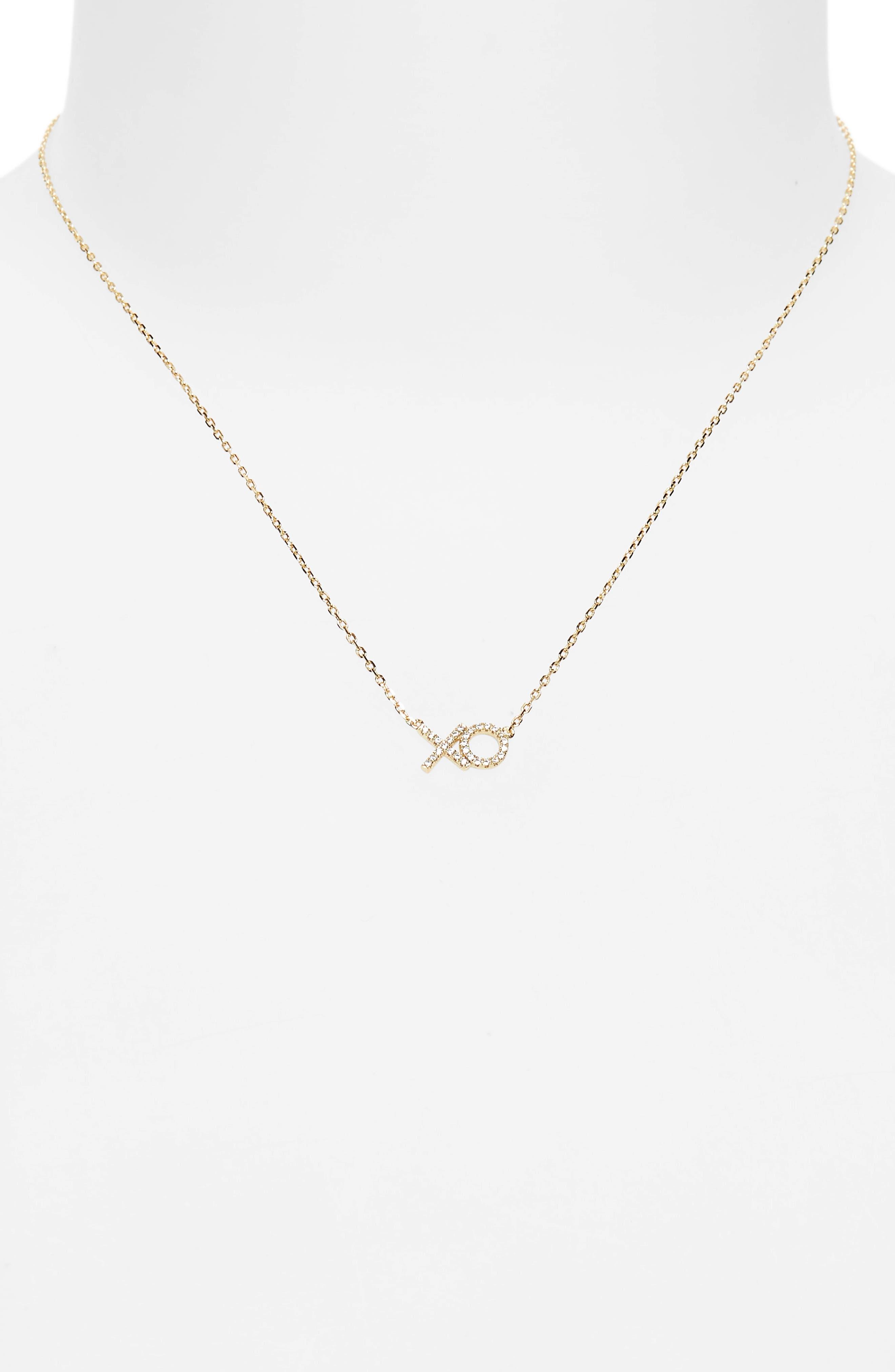 XO Pavé Pendant Necklace,                             Alternate thumbnail 2, color,                             Yellow Gold
