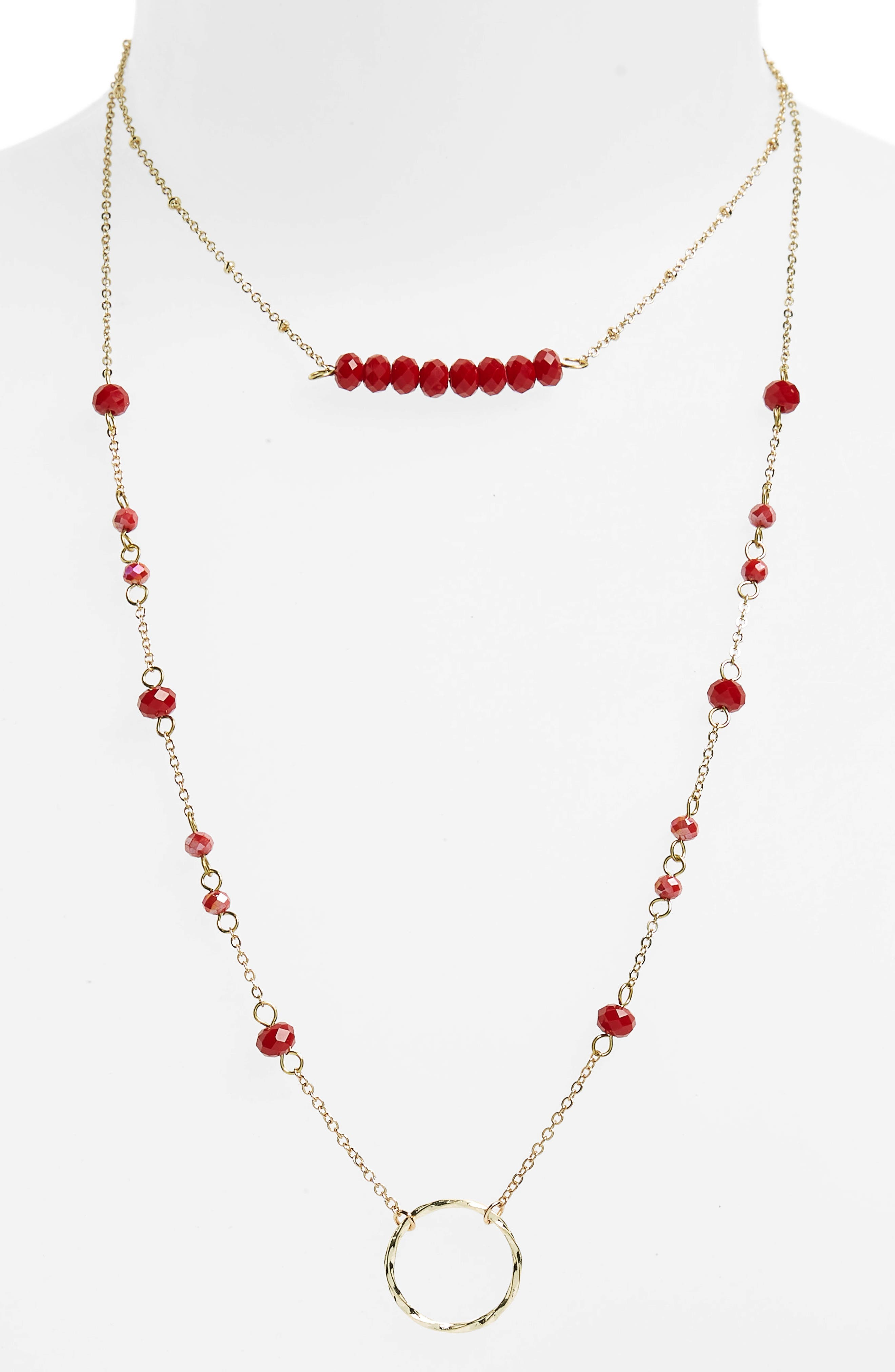Crystal Layered Pendant Necklace,                             Alternate thumbnail 2, color,                             Red/ Gold