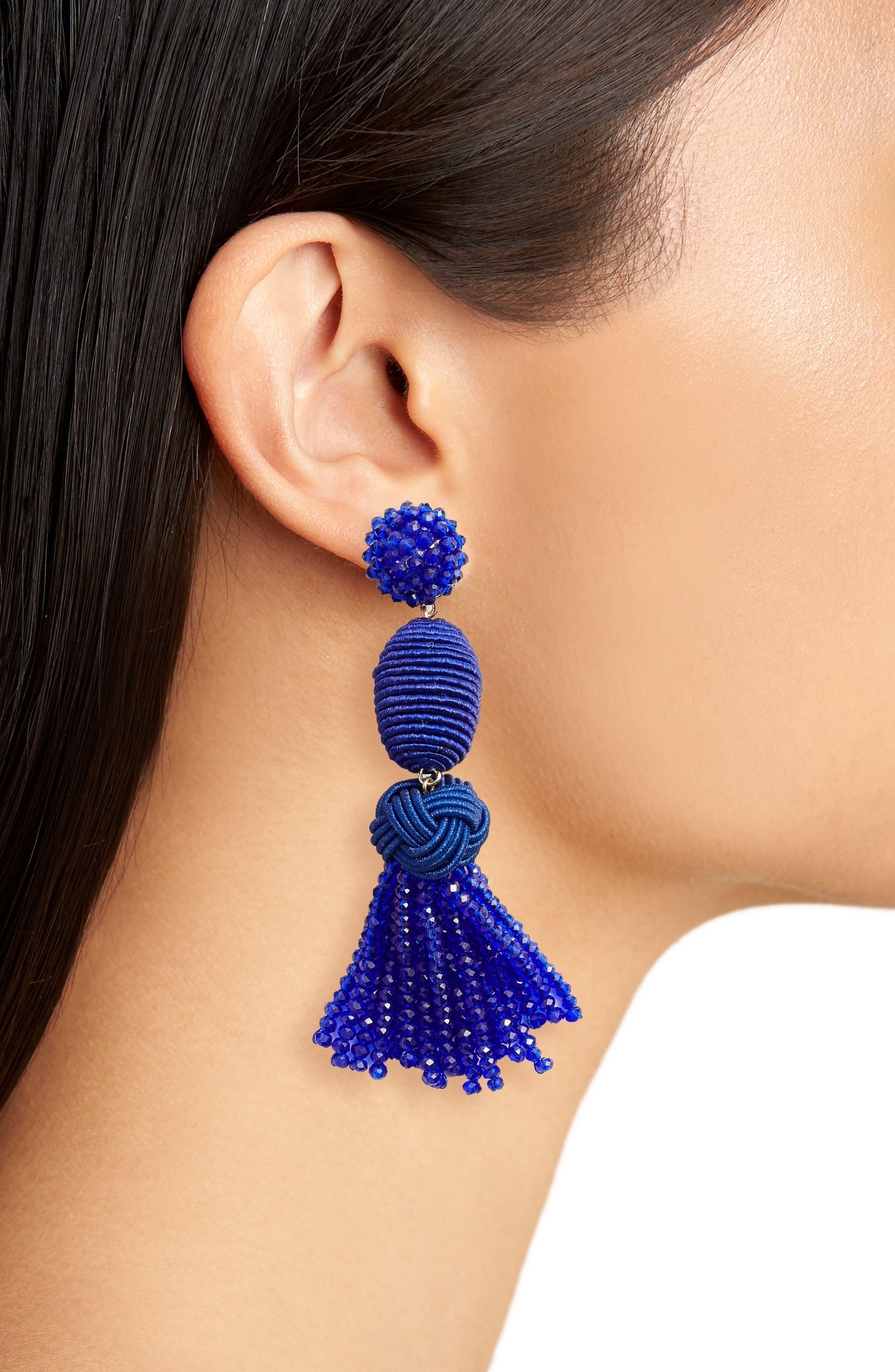 Amina Drop Earrings,                             Alternate thumbnail 2, color,                             Bright Blue