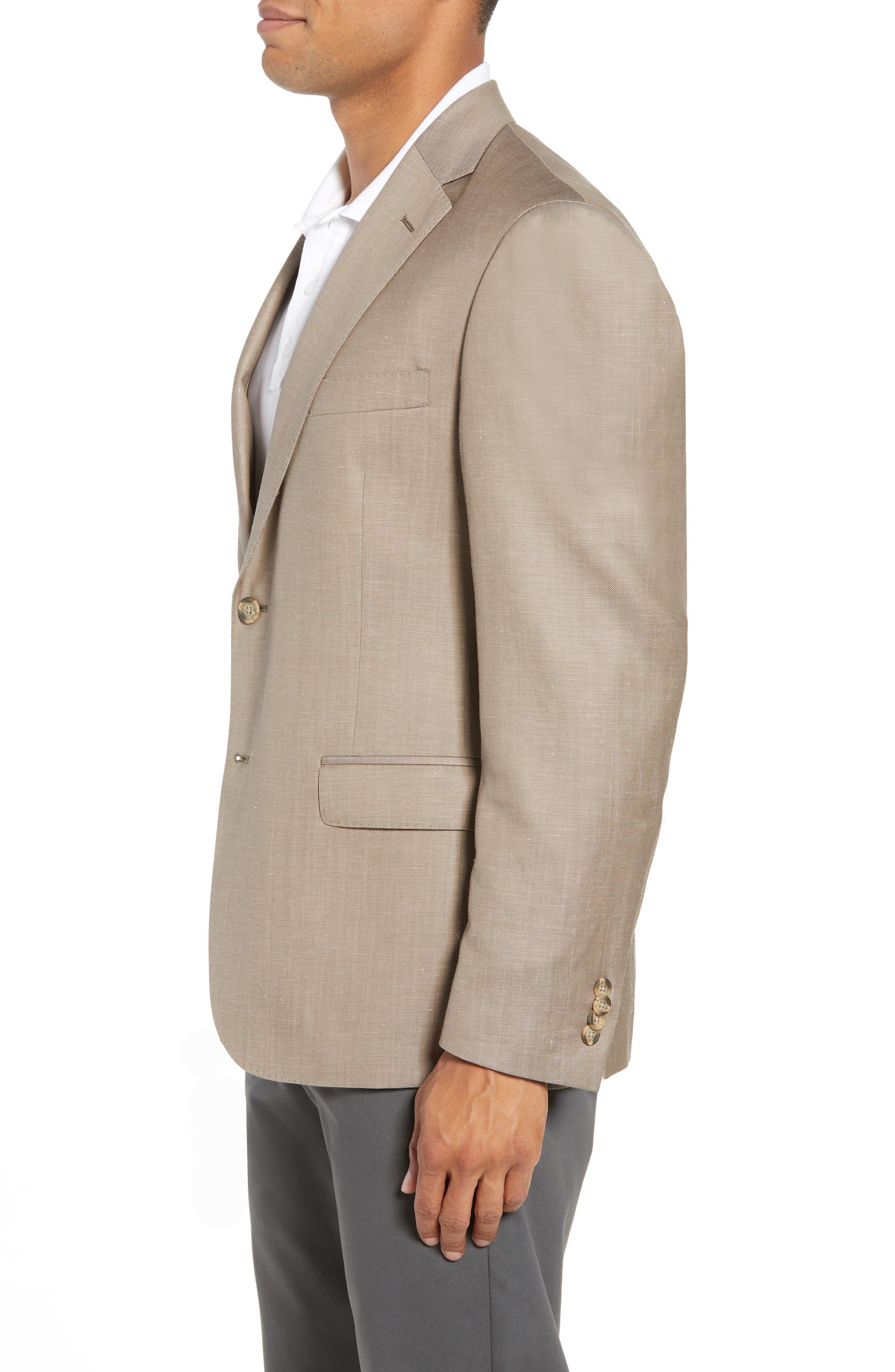 Traditional Fit Wool & Linen Blazer,                             Alternate thumbnail 4, color,                             Tan