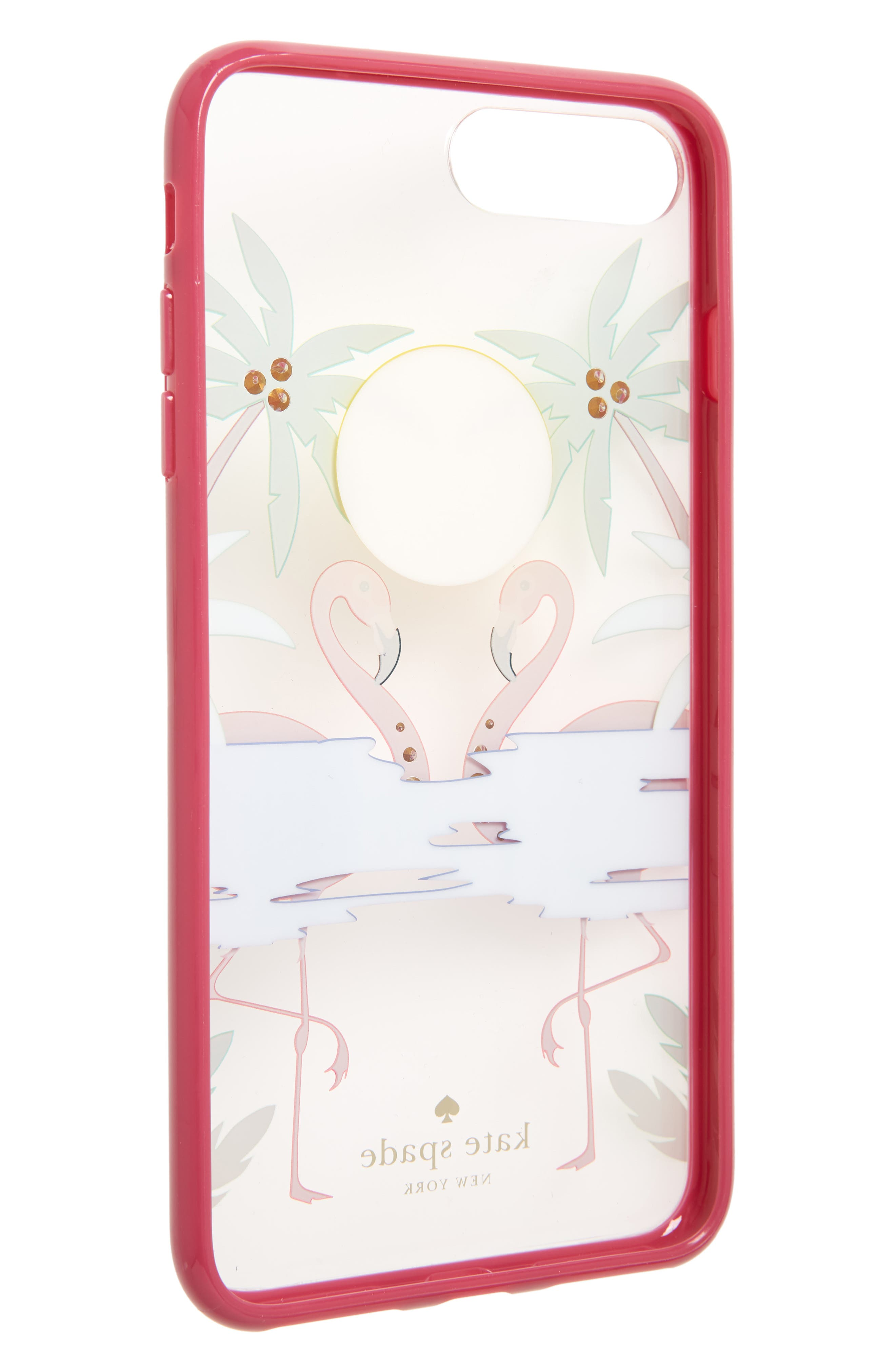 crystal embellished flamingos iPhone 7/8 & 7/8 Plus Case,                             Alternate thumbnail 2, color,                             Clear Multi