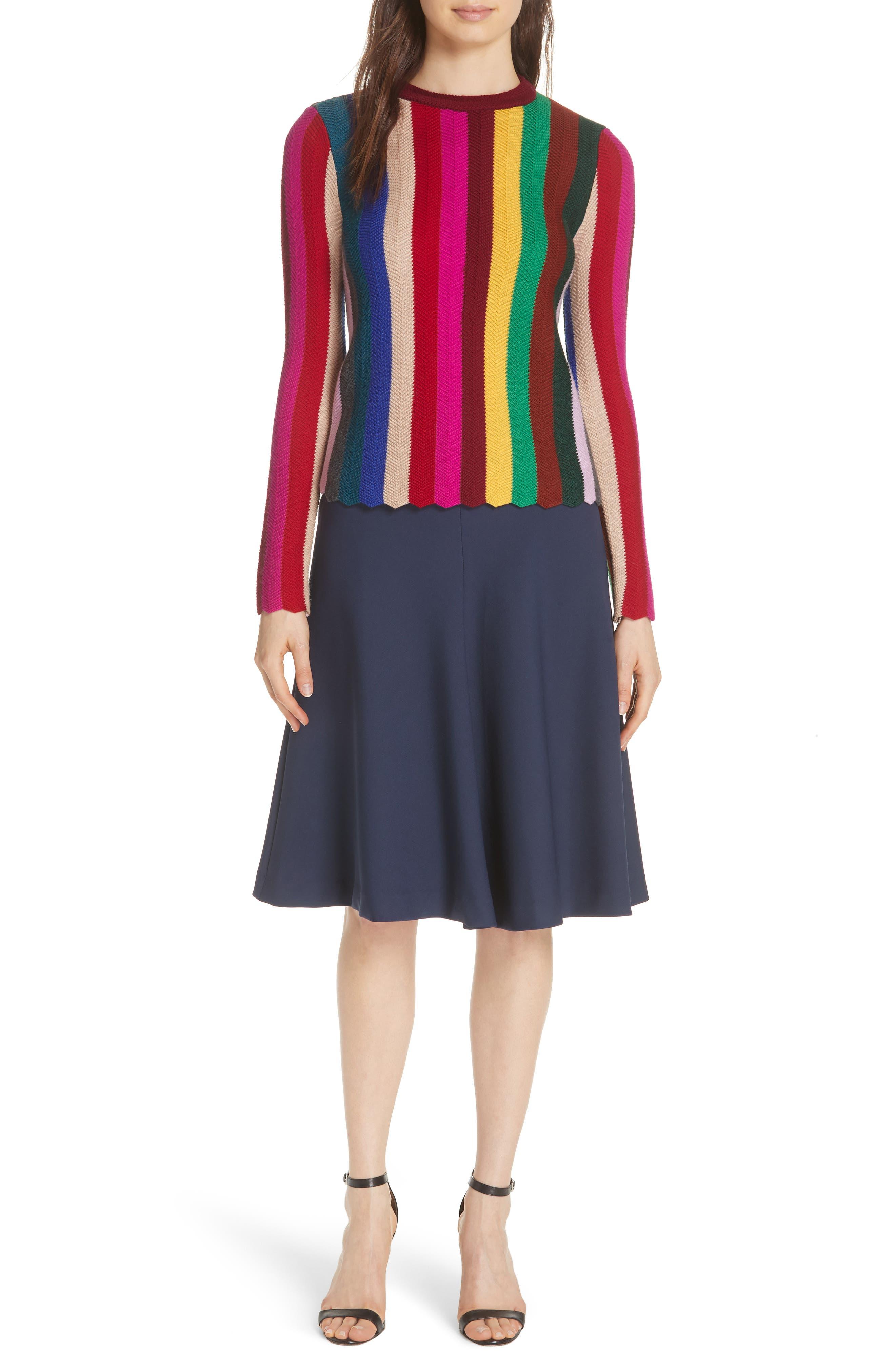 Chevron Vertical Stripe Wool Blend Scallop Hem Sweater,                             Alternate thumbnail 2, color,                             Rainbow Multi