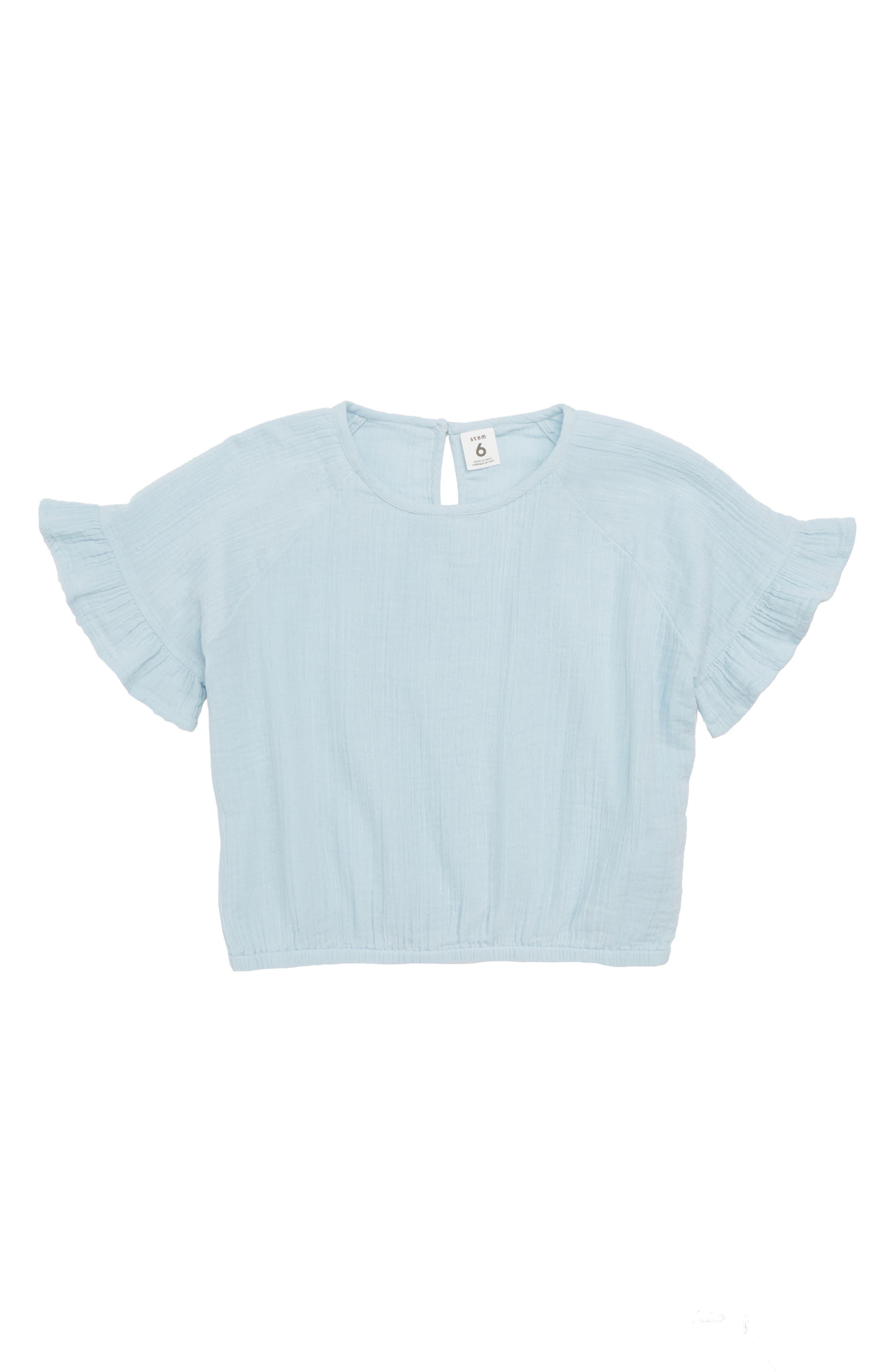 Ruffle Sleeve Crepe Top,                             Main thumbnail 1, color,                             Blue Sterling