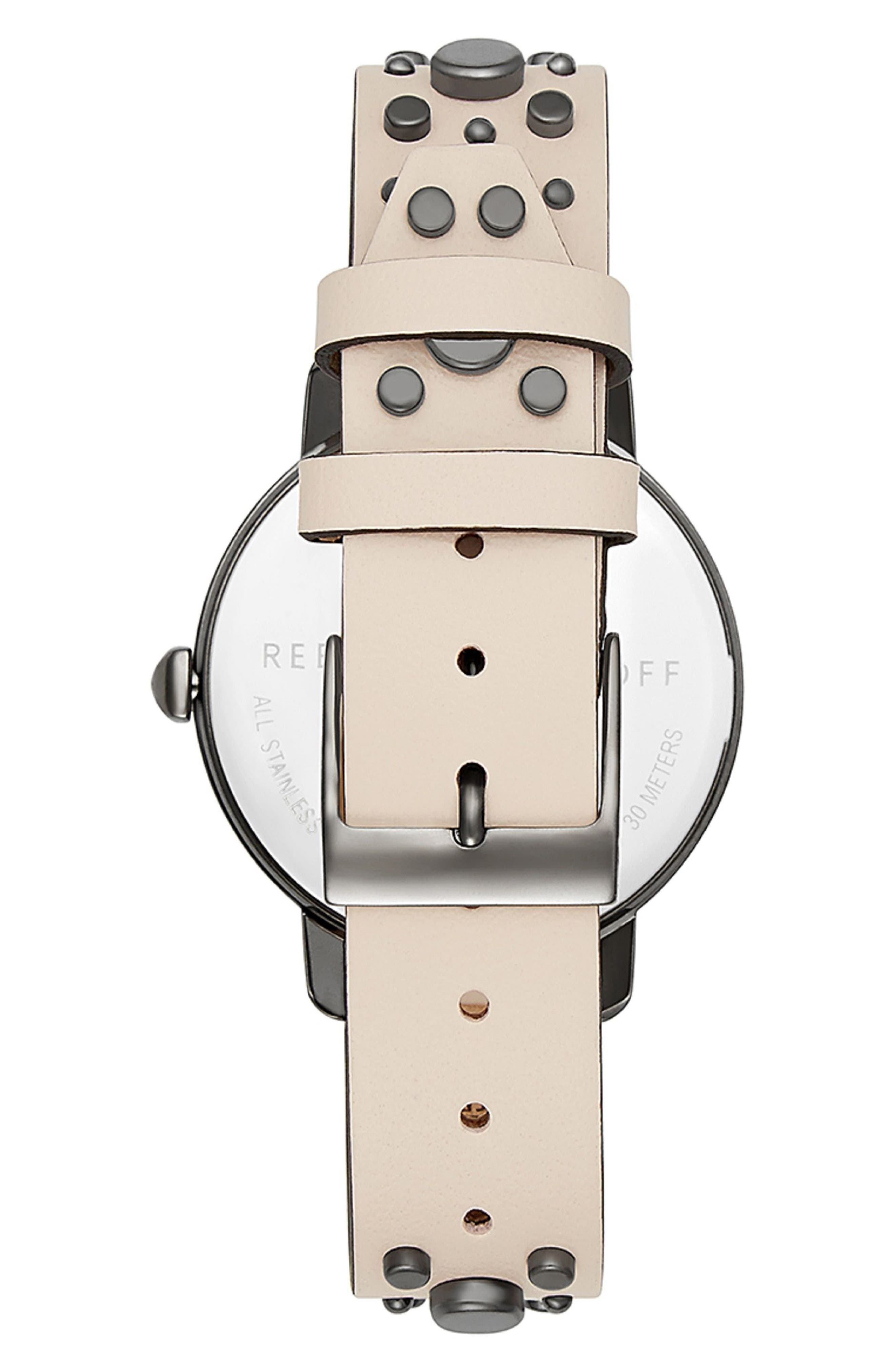 BFFL Studded Leather Strap Watch, 36mm,                             Alternate thumbnail 2, color,                             Blush/ Silver White/ Grey