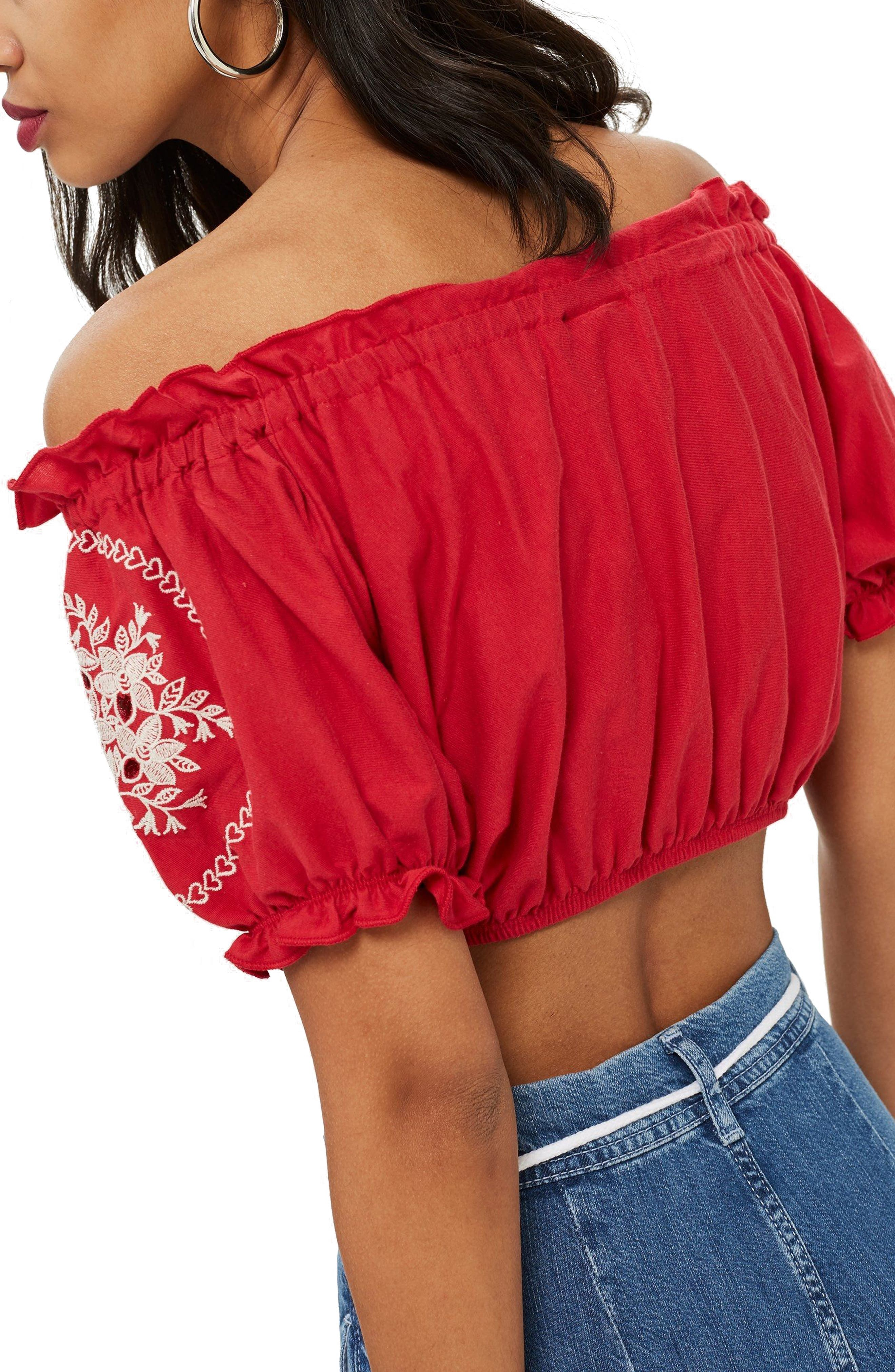 Gypsy Embroidered Crop Top,                             Alternate thumbnail 2, color,                             Red Multi