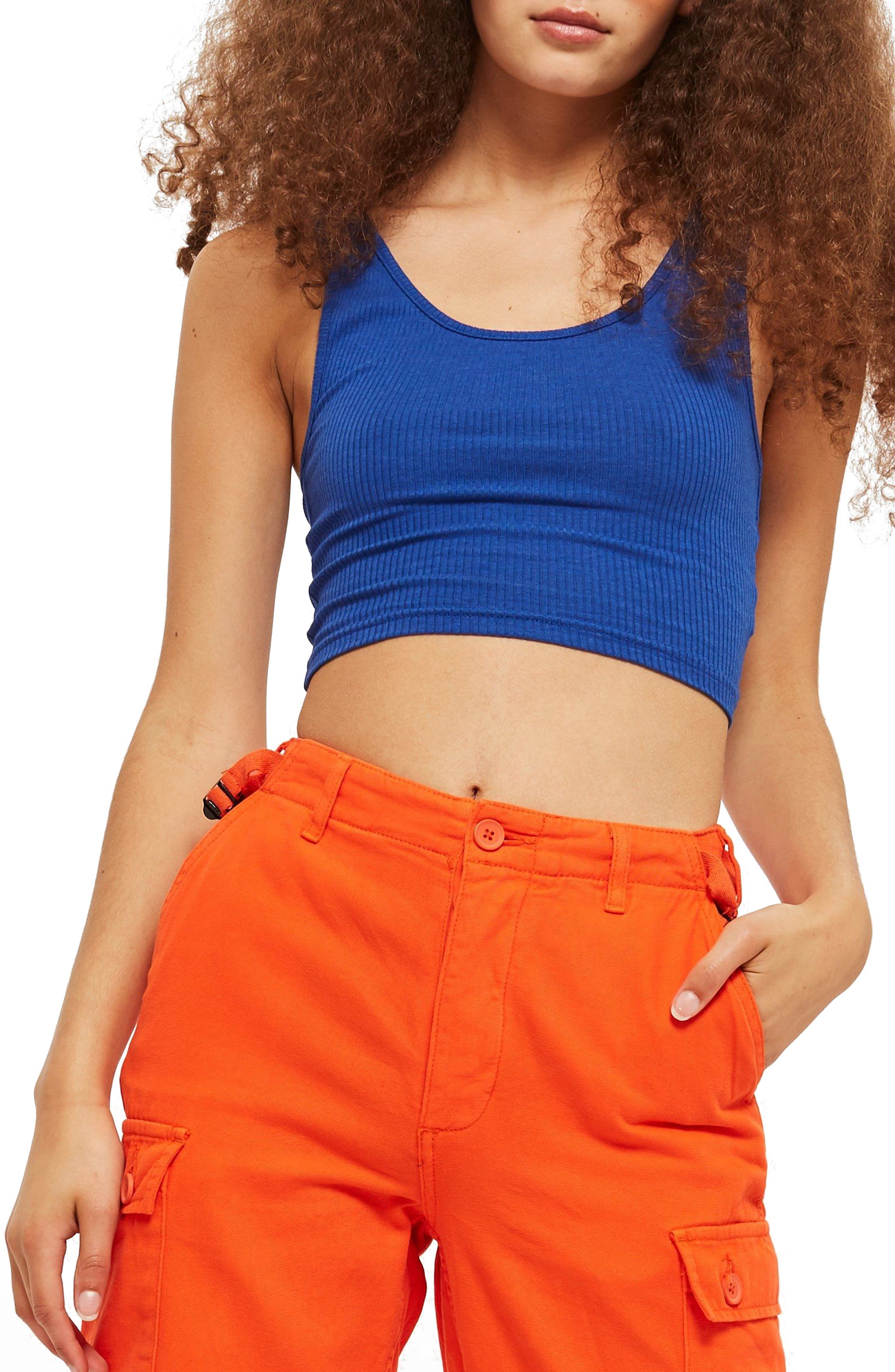 Strappy Scoopback Crop Tank,                             Main thumbnail 1, color,                             Blue