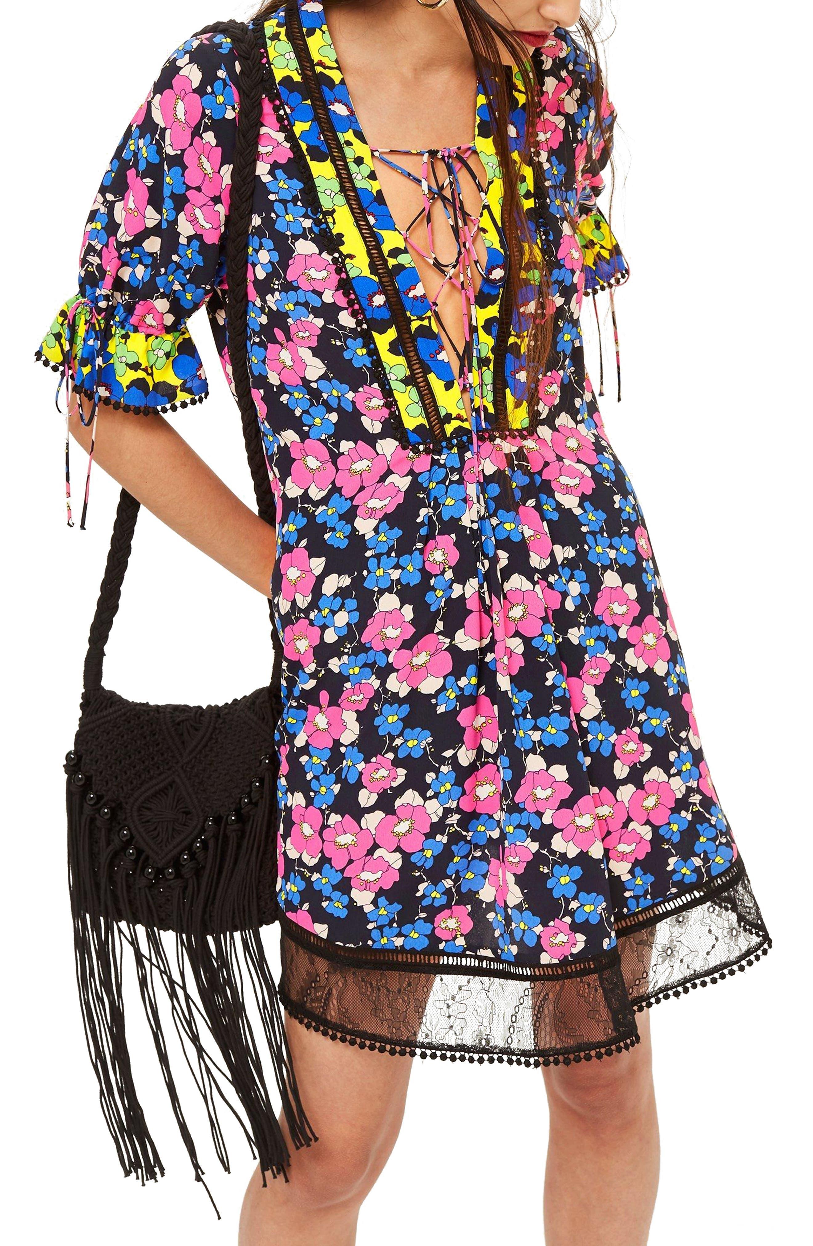 Floral Print Minidress,                         Main,                         color, Blue Multi