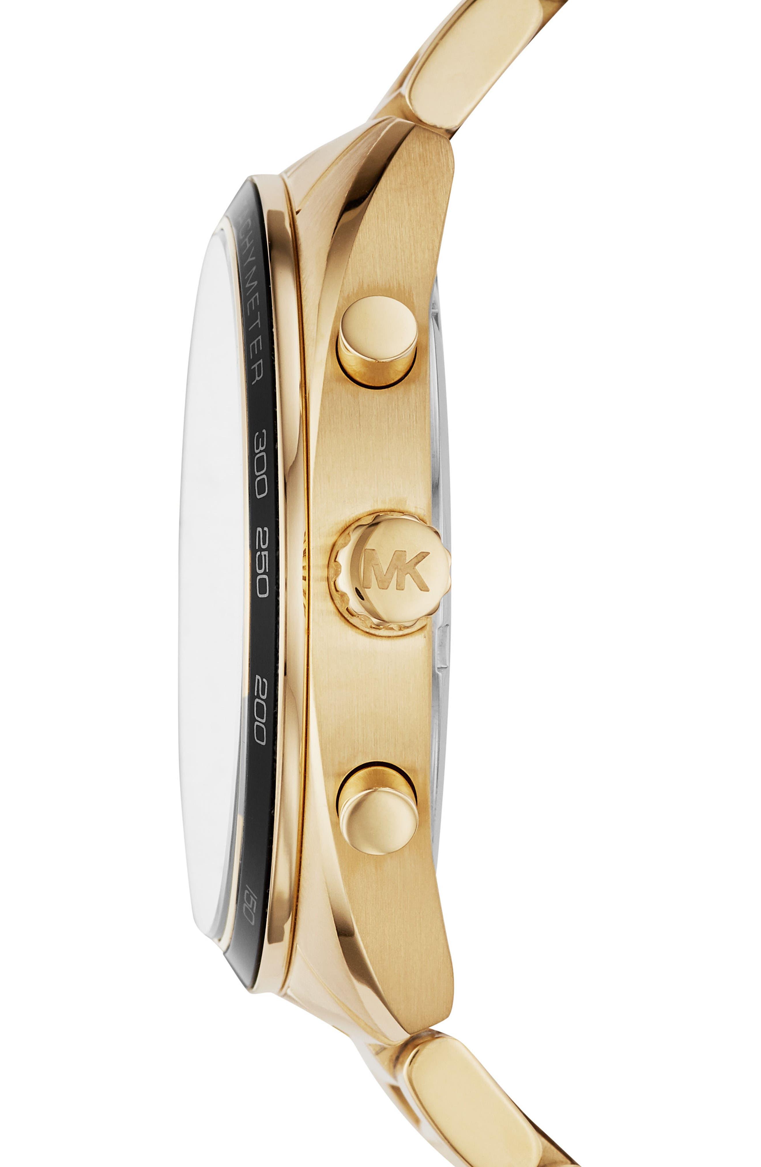 Dane Chronograph Bracelet Watch, 43mm,                             Alternate thumbnail 2, color,                             Gold/ Black/ Gold