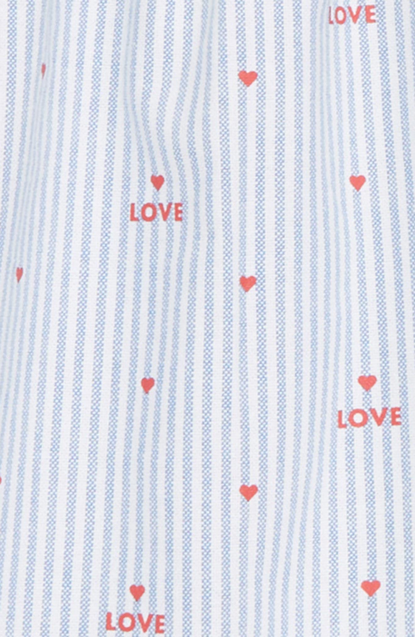 Pinstripe Swing Dress,                             Alternate thumbnail 3, color,                             White/ Peach