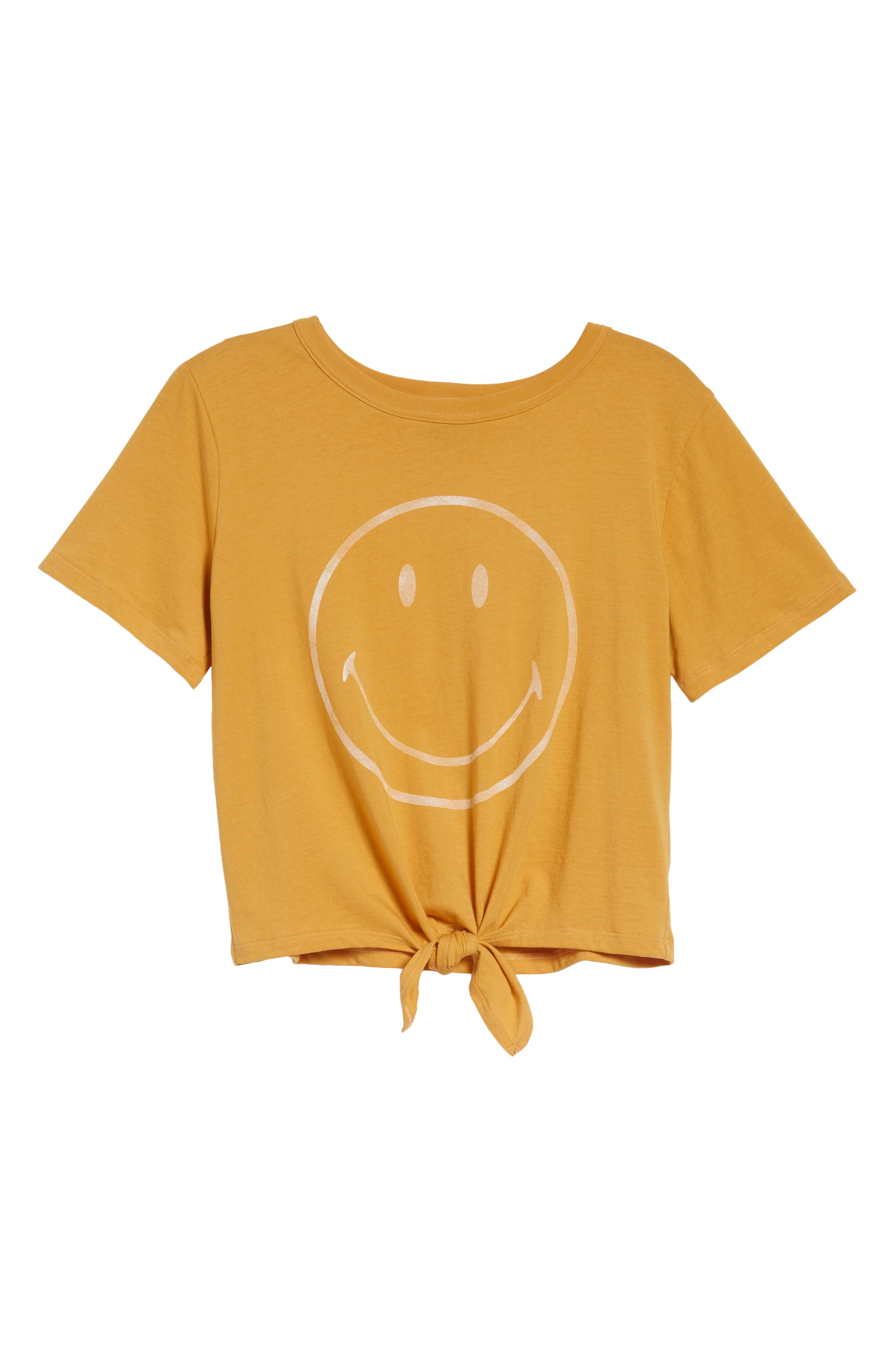 Smiley Tie Hem Boxy Tee,                             Alternate thumbnail 7, color,                             Golden