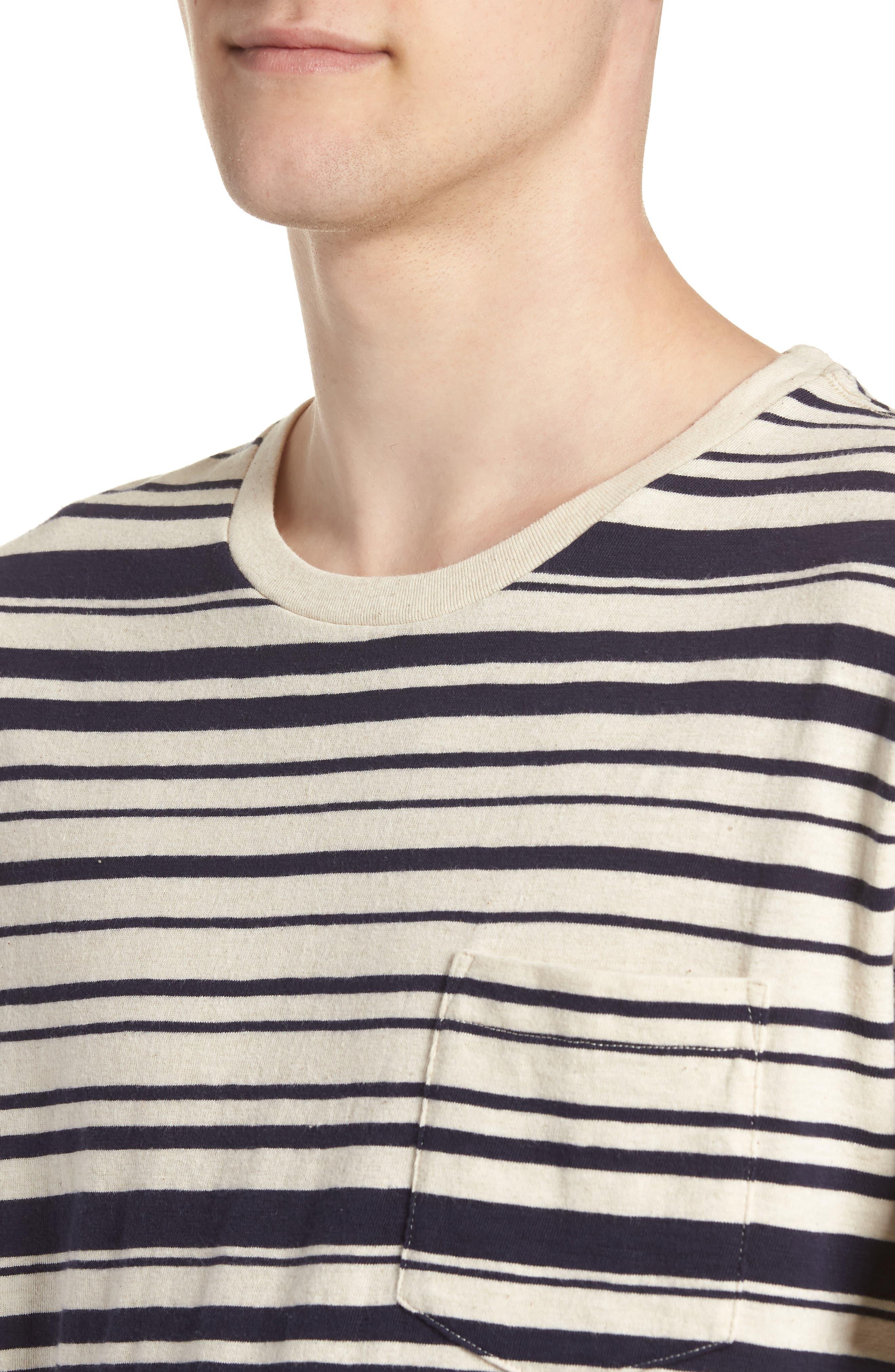 Variegated Stripe Slub Cotton T-Shirt,                             Alternate thumbnail 4, color,                             Ivory Navy