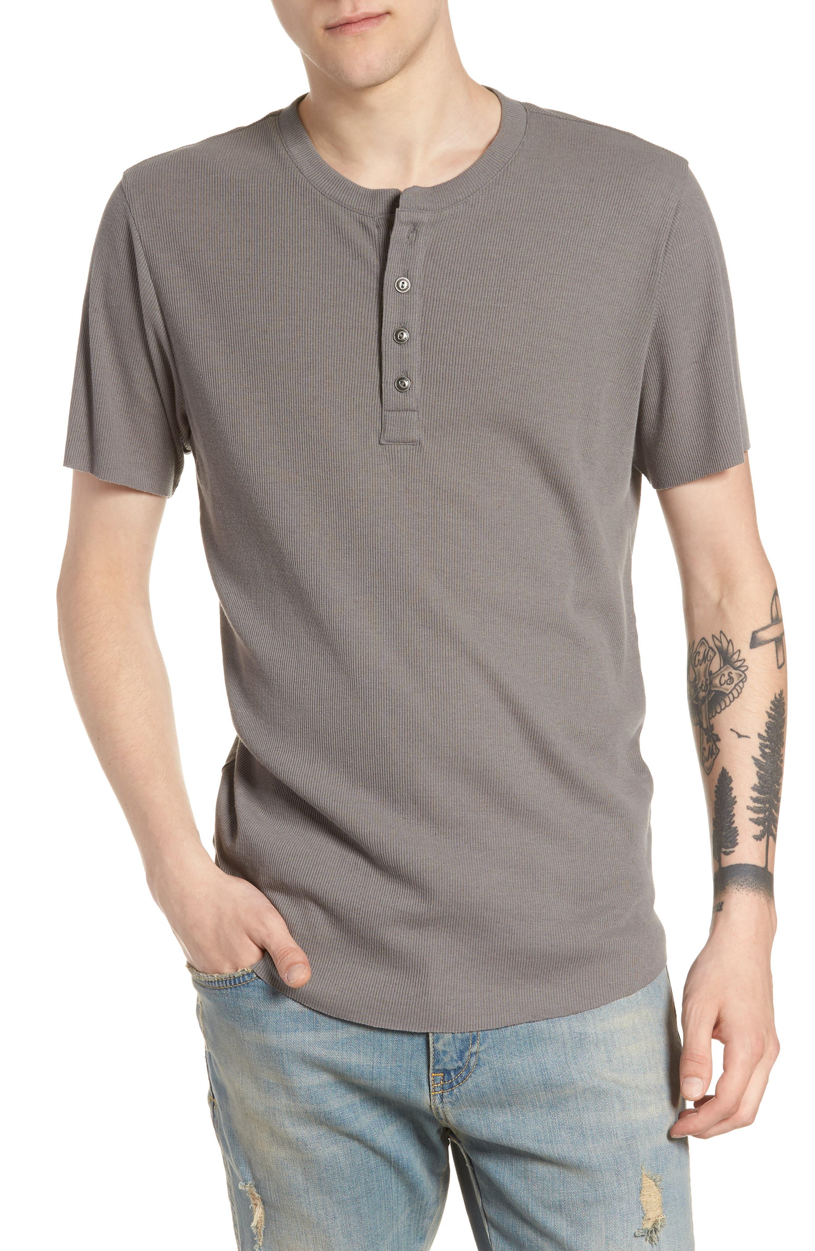 Ribbed Henley T-Shirt,                         Main,                         color, Grey Shade