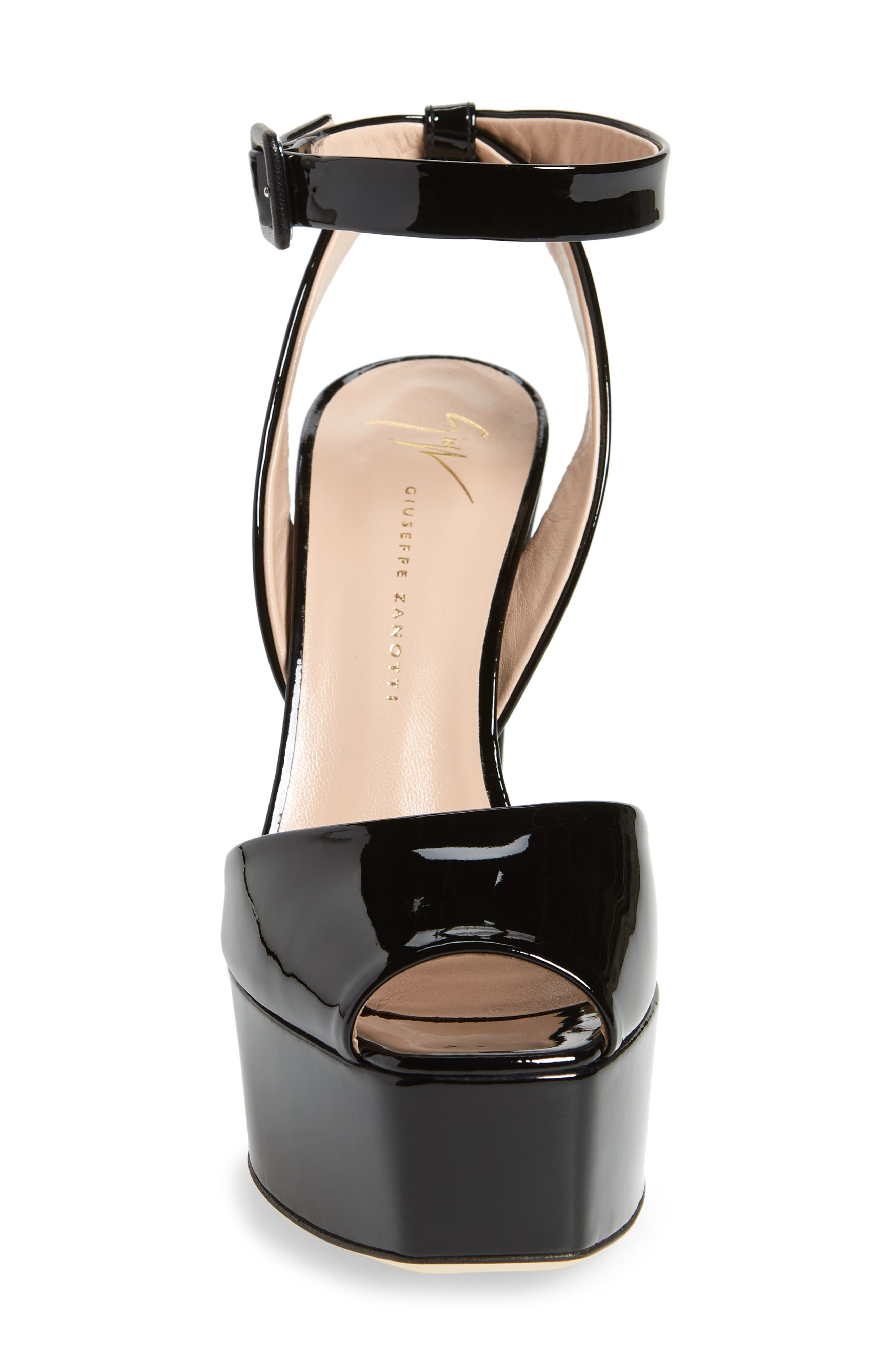 Lavinia Platform Sandal,                             Alternate thumbnail 4, color,                             Black Patent