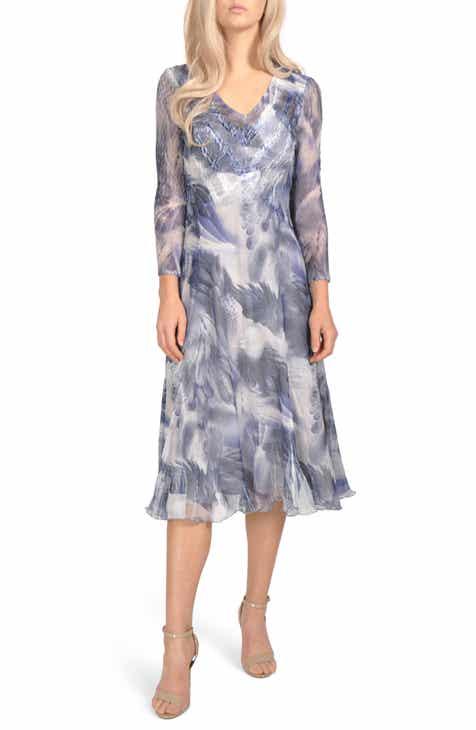 Komarov Floral Chiffon Tea Length Dress (Regular & Petite)