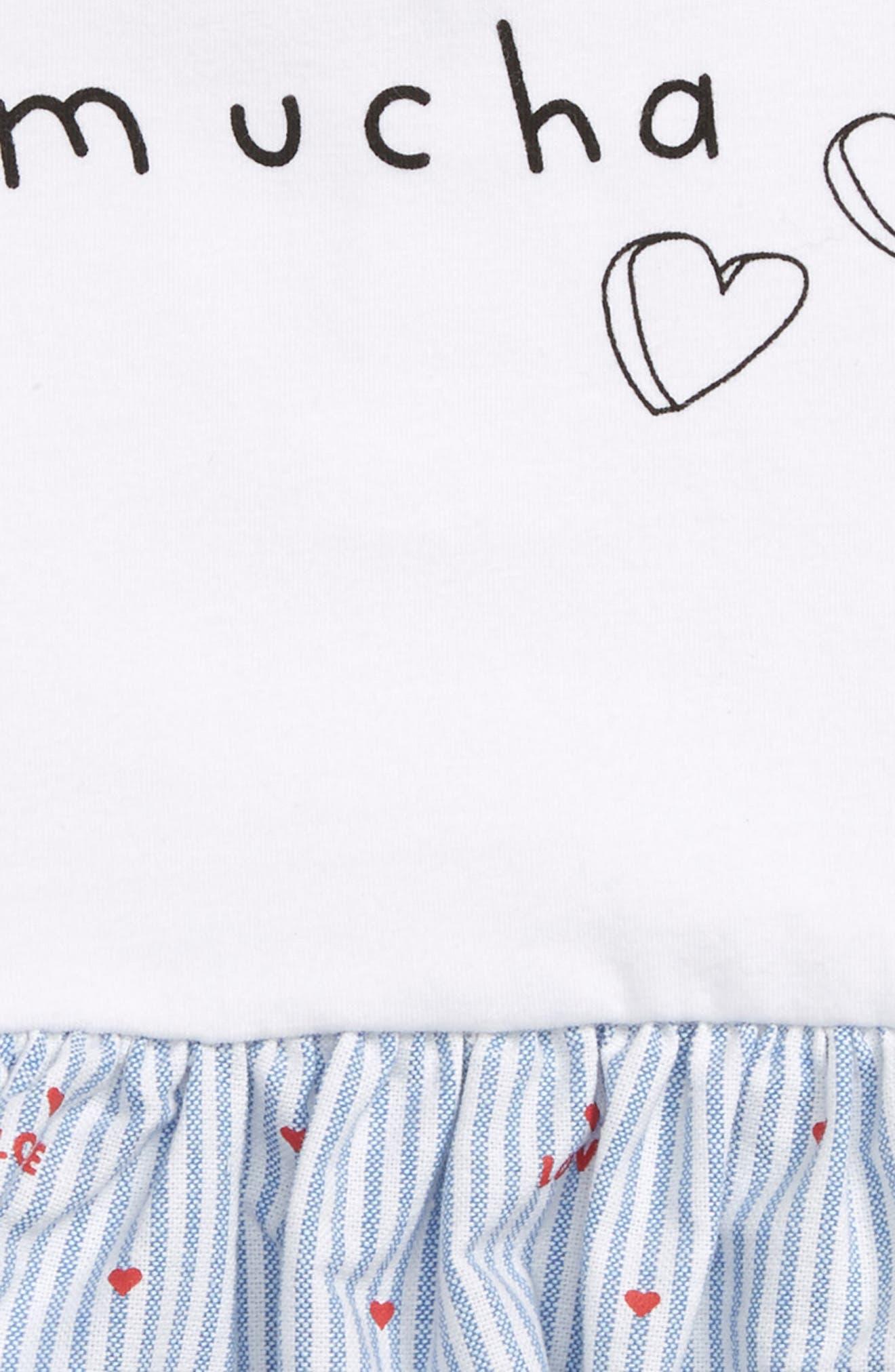 Love you Mucha Skirted Bodysuit,                             Alternate thumbnail 2, color,                             White Multi