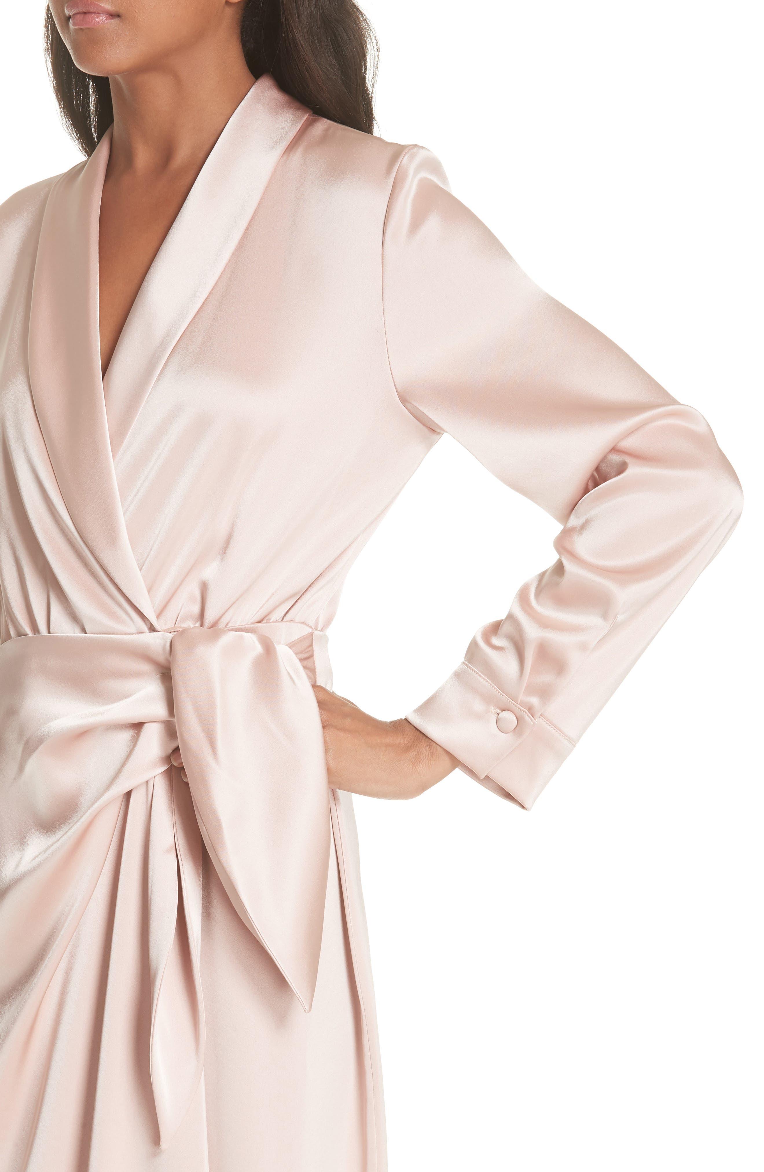Ezra Satin Wrap Dress,                             Alternate thumbnail 4, color,                             Desert Rose