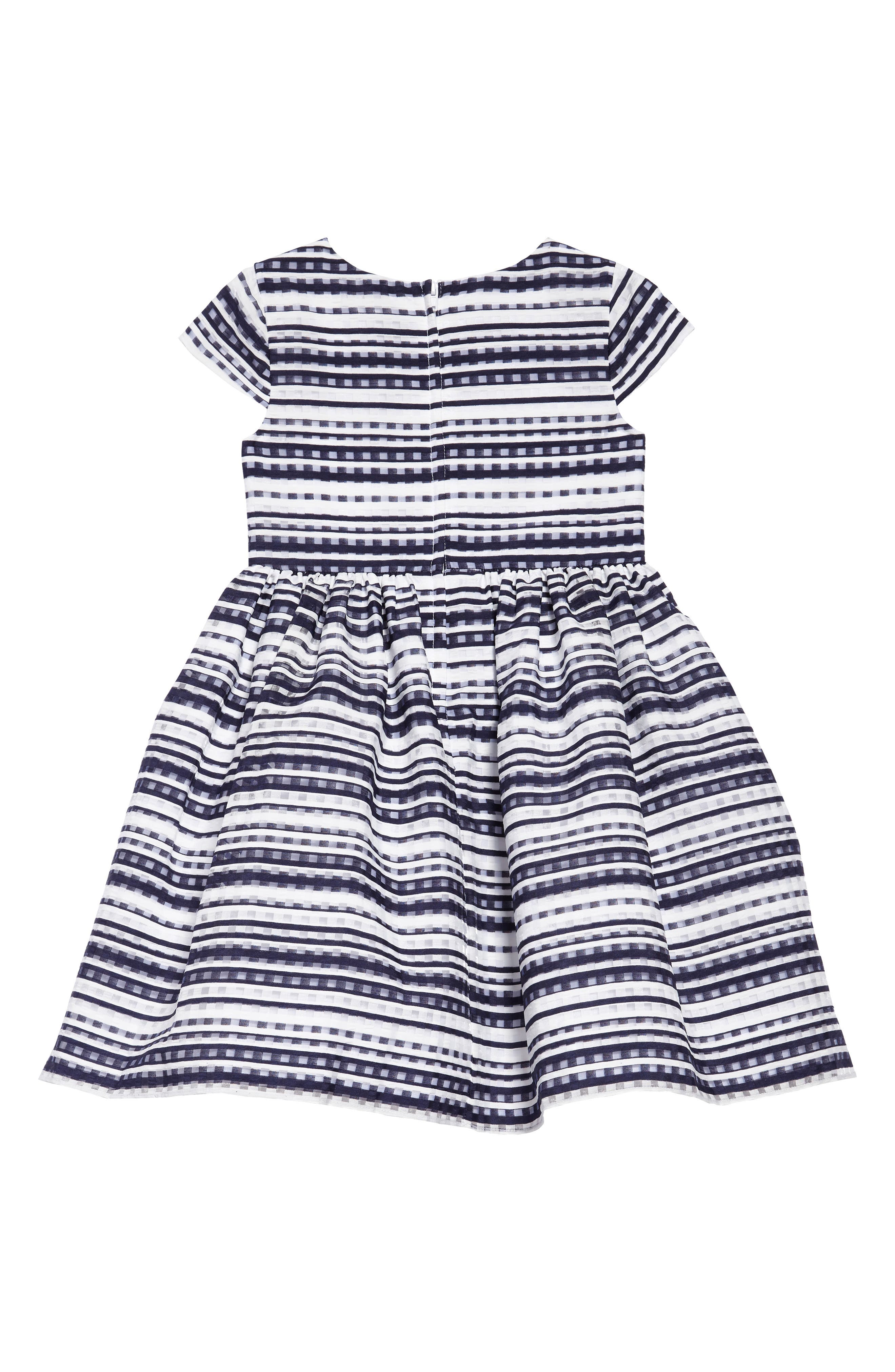 Shadow Stripe Fit & Flare Dress,                             Alternate thumbnail 2, color,                             Navy/ White