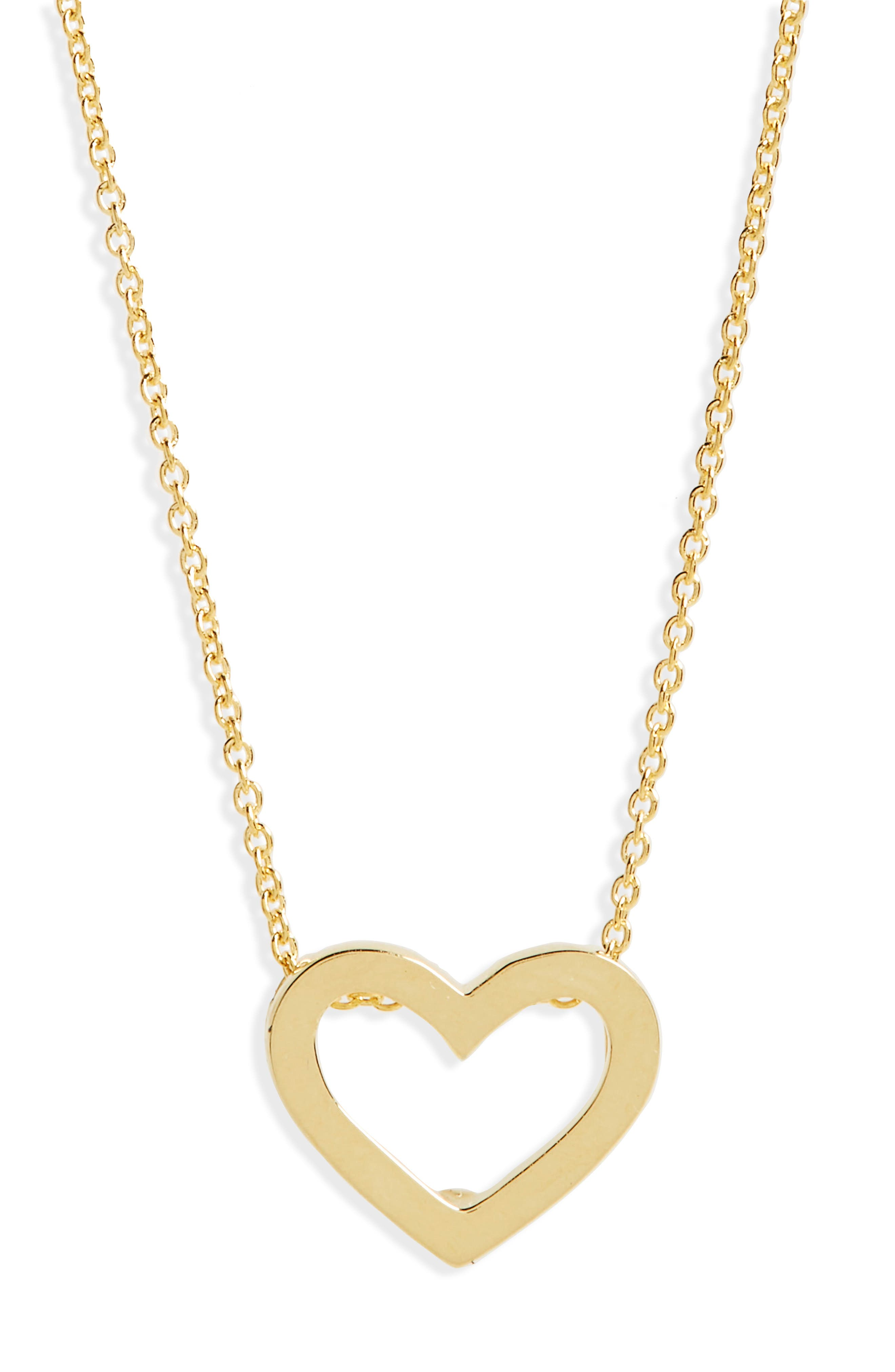 Gold Open Heart Necklace,                             Main thumbnail 1, color,                             Yellow Gold