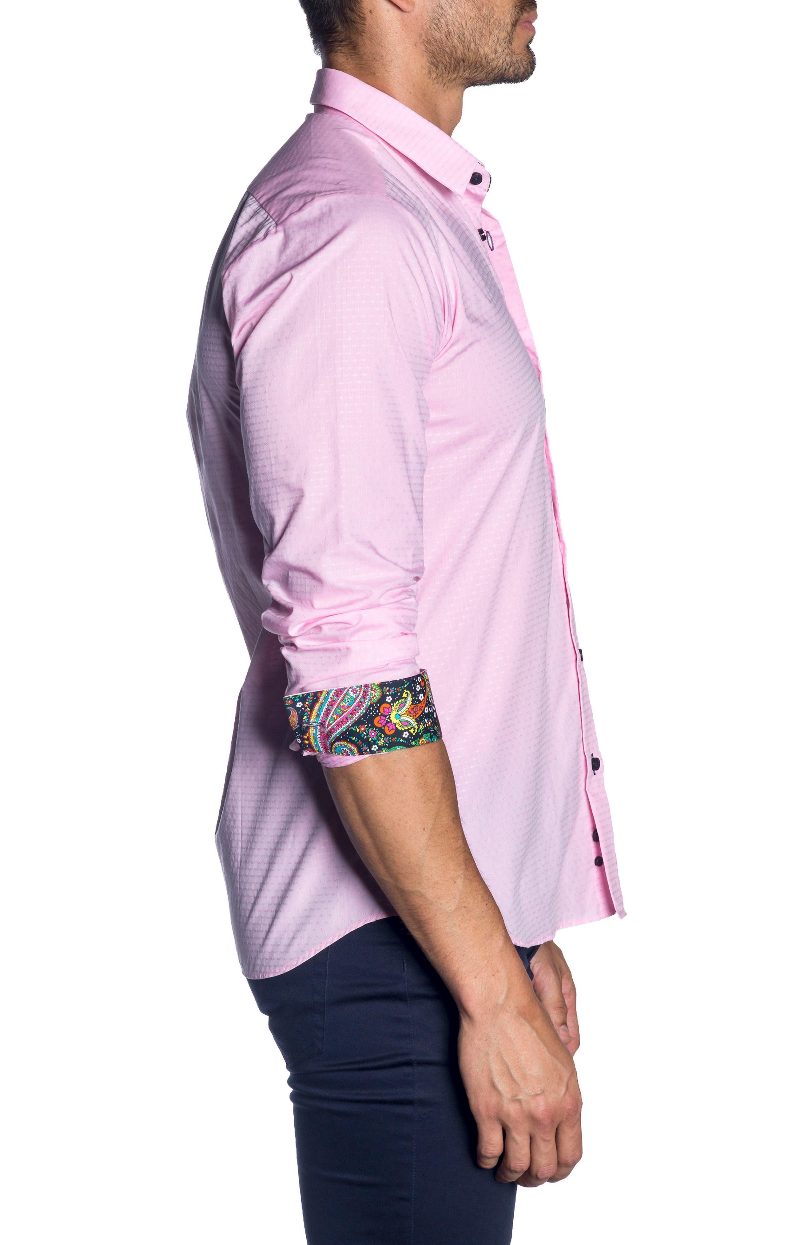 Trim Fit Sport Shirt,                             Alternate thumbnail 3, color,                             Pink