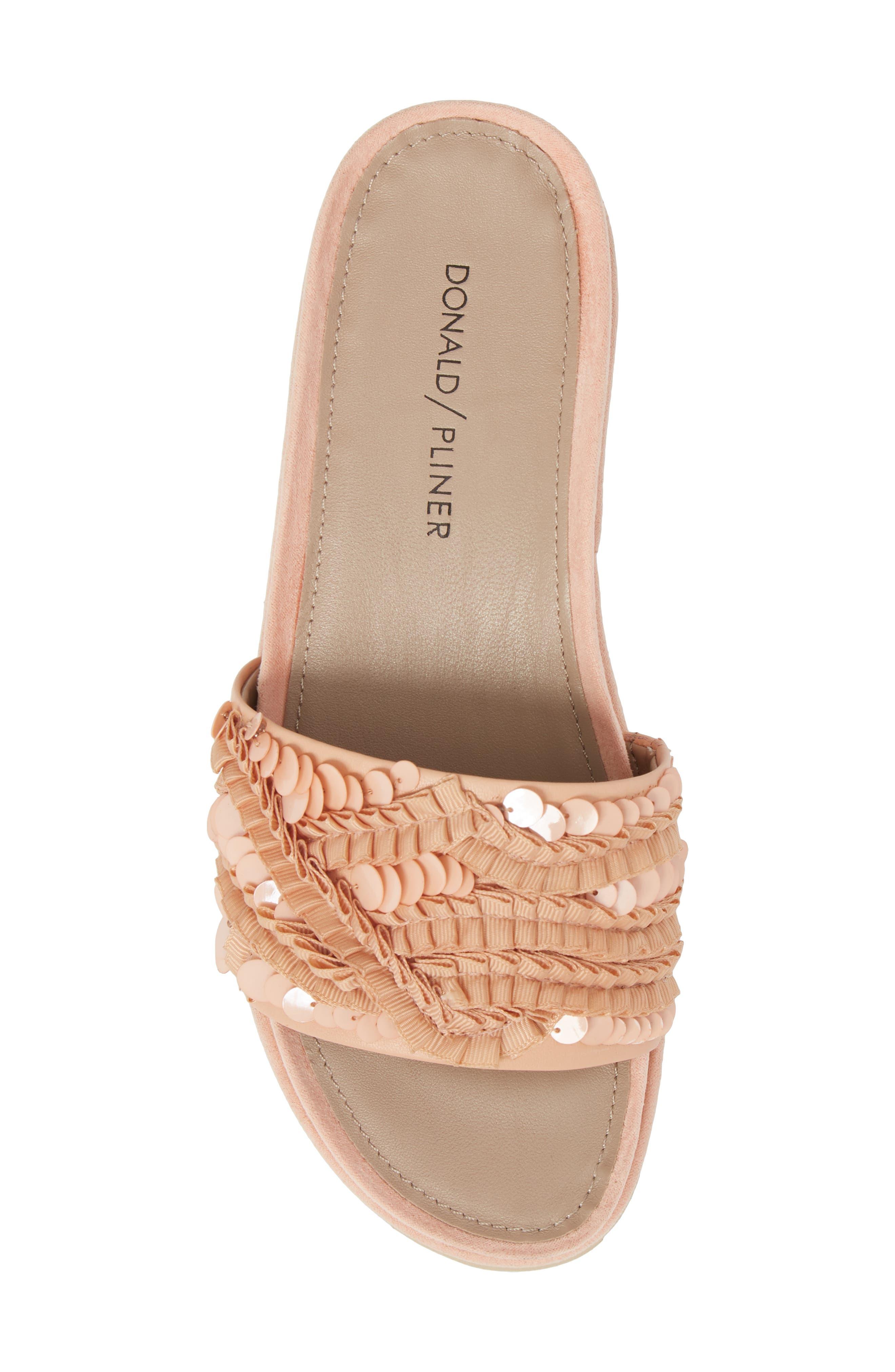 Cava Slide Sandal,                             Alternate thumbnail 4, color,                             Peony Leather