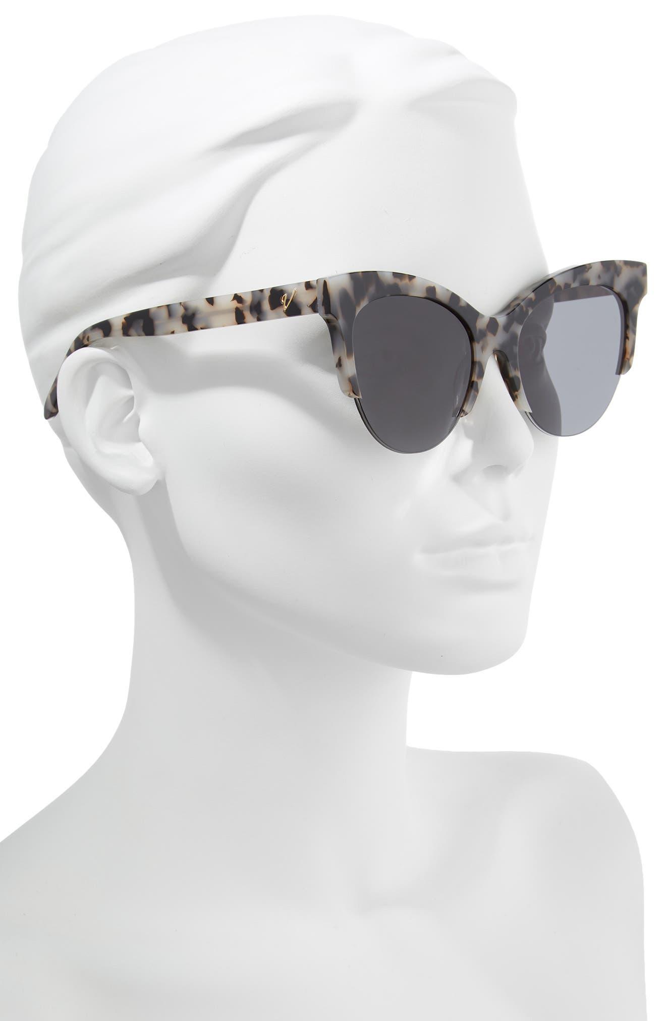 Cody 53mm Cat Eye Sunglasses,                             Alternate thumbnail 2, color,                             Milky Tortoise/ Smoke