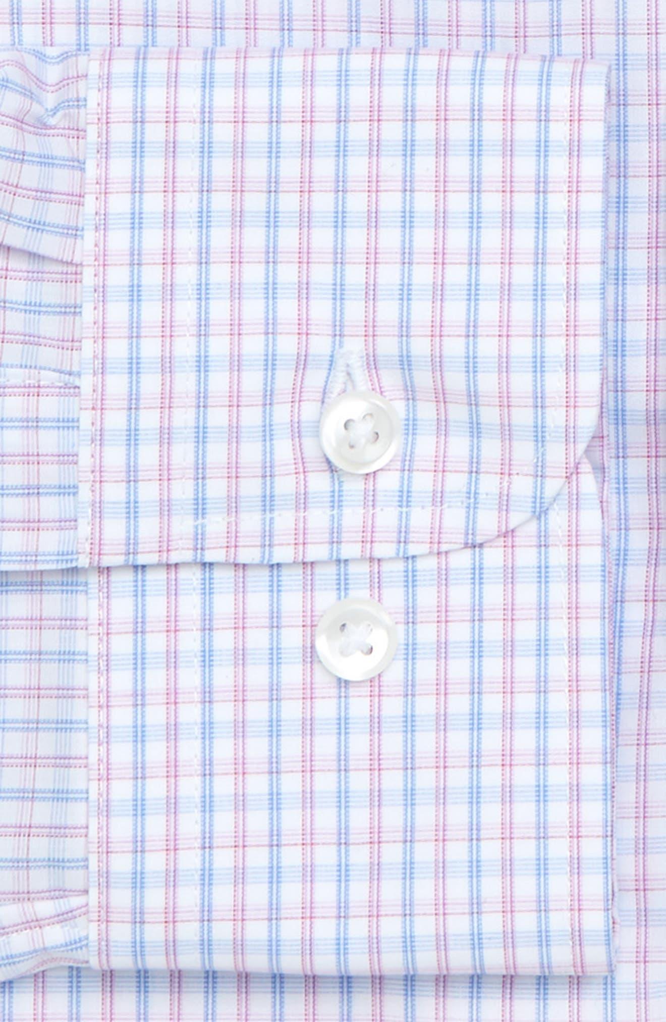 Nordstrom Trim Fit Non-Iron Check Dress Shirt,                             Alternate thumbnail 5, color,                             Pink Carmine