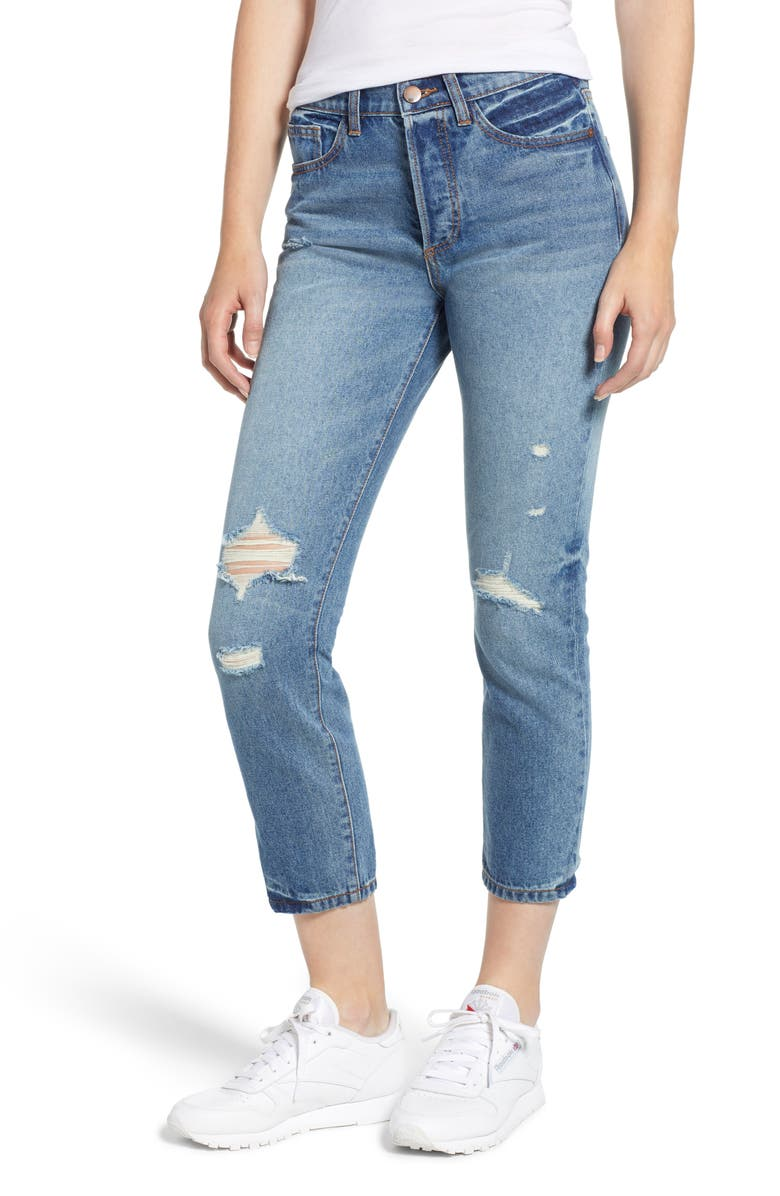 Ripped High Waist Crop Mom Jeans