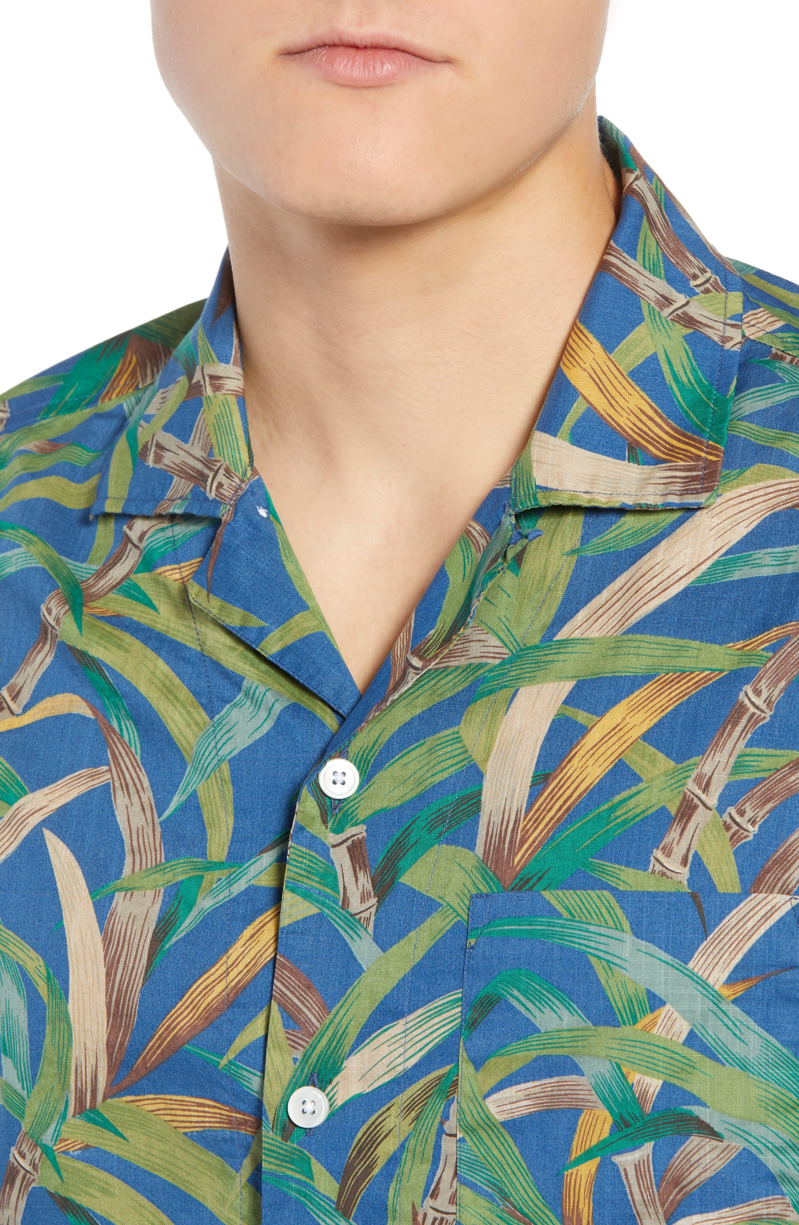 Regular Fit Leaf Print Slub Cotton Sport Shirt,                             Alternate thumbnail 2, color,                             Vivid Fig