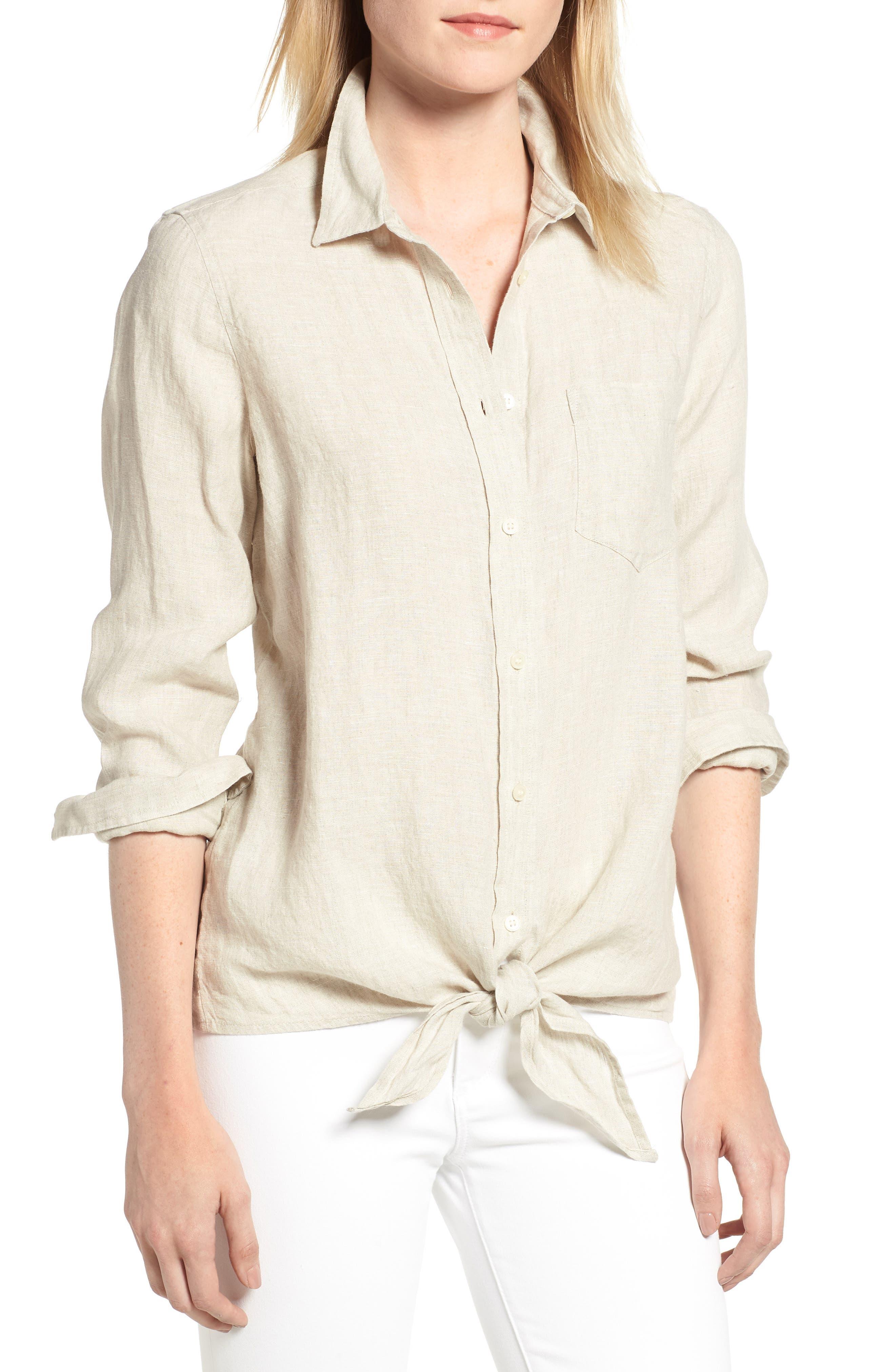 Tie Front Linen Shirt,                             Main thumbnail 1, color,                             Flax