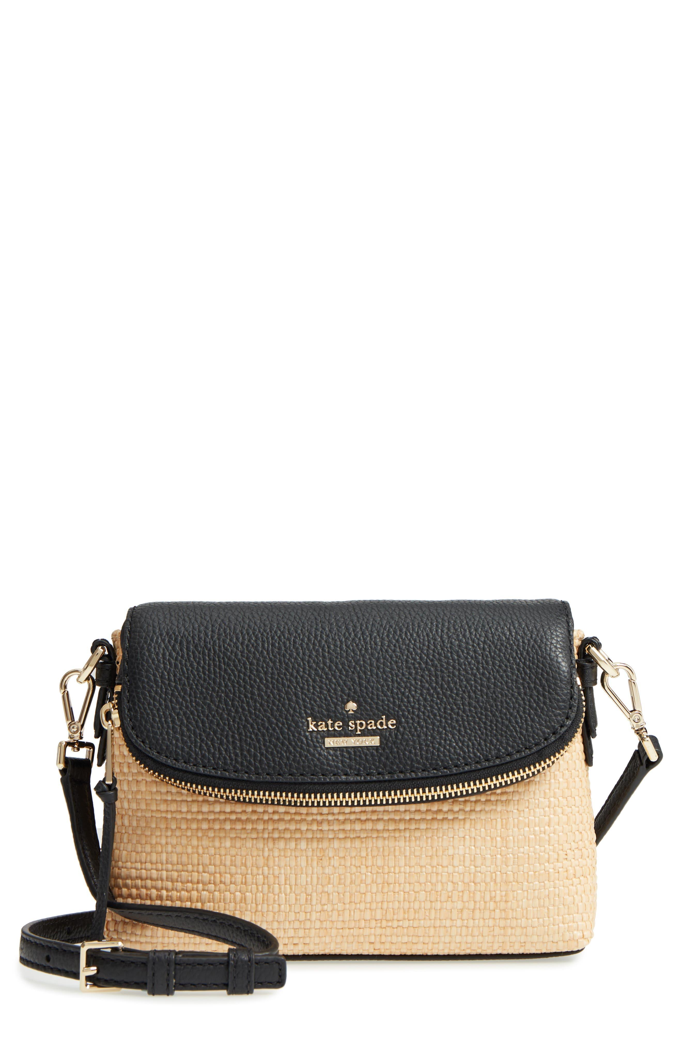 jackson street – harlyn straw & leather crossbody bag,                         Main,                         color, Light Natural