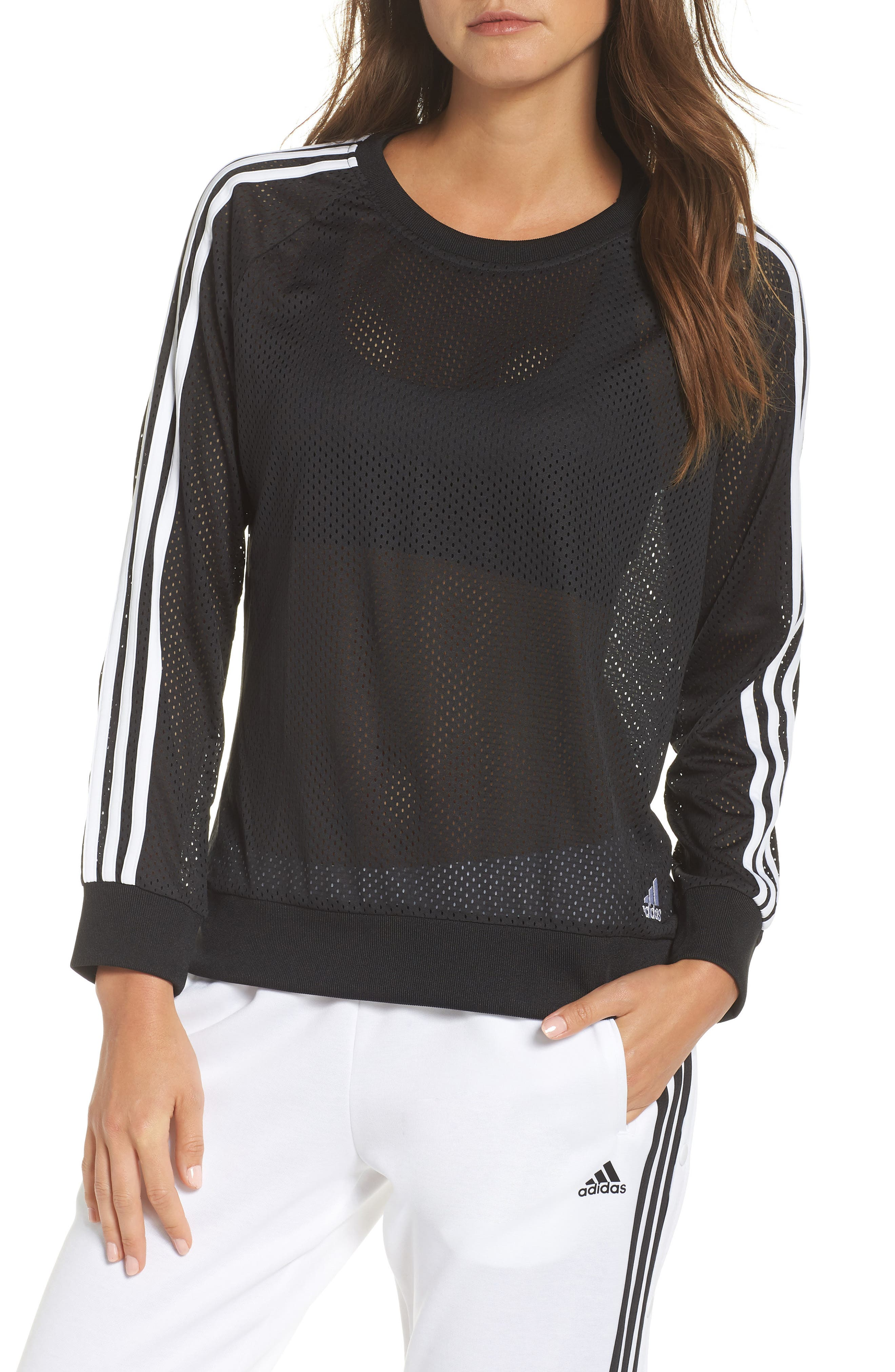 Essentials Mesh Sweatshirt,                             Main thumbnail 1, color,                             Black