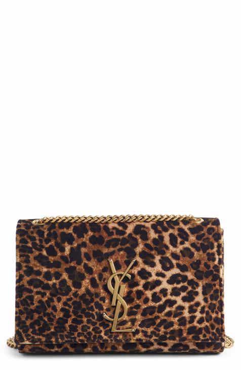 67806f096a86 Saint Laurent Small Kate Leopard Print Velour Chain Crossbody Bag