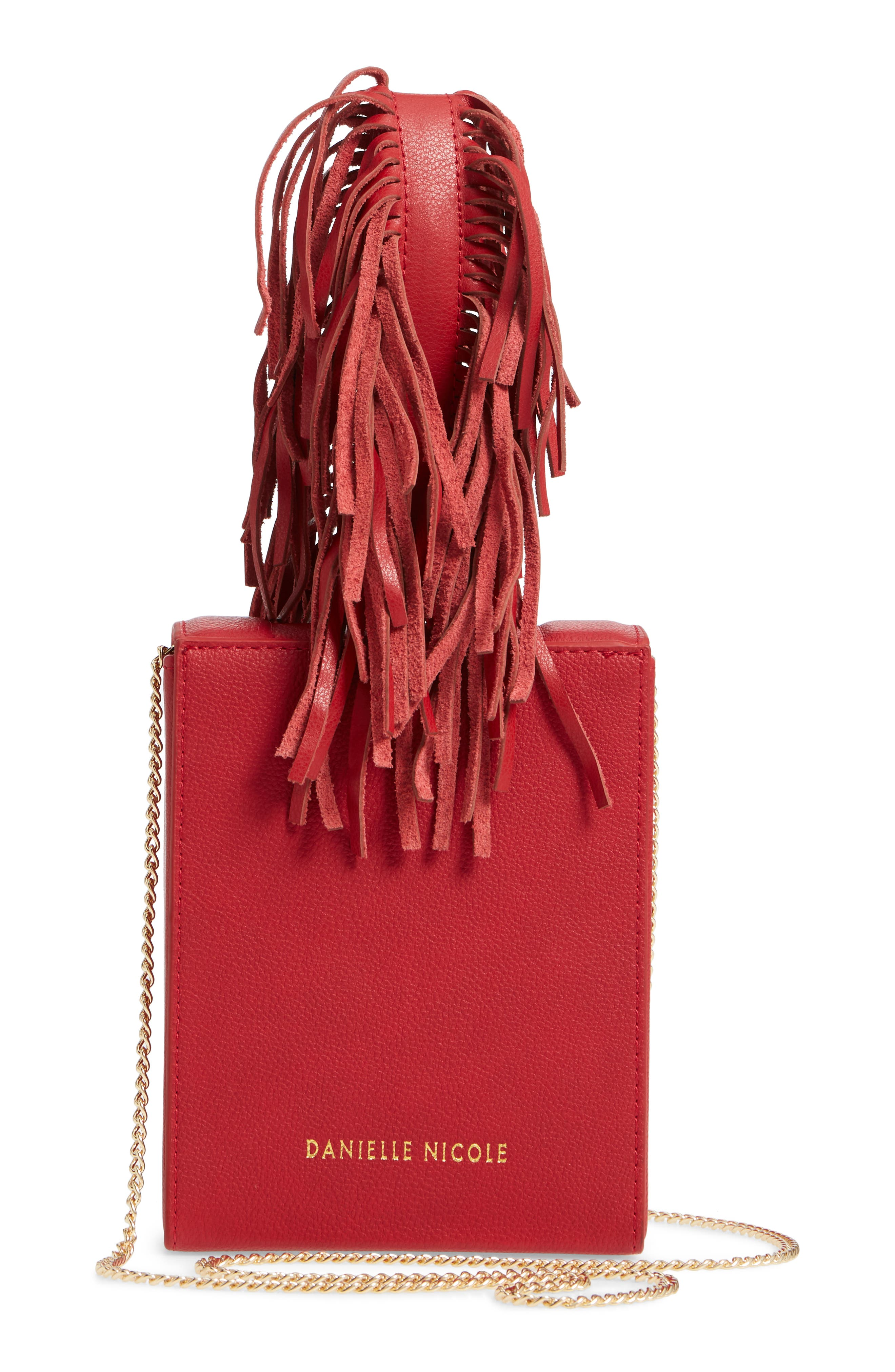 Alivia Leather Clutch,                             Alternate thumbnail 3, color,                             Red