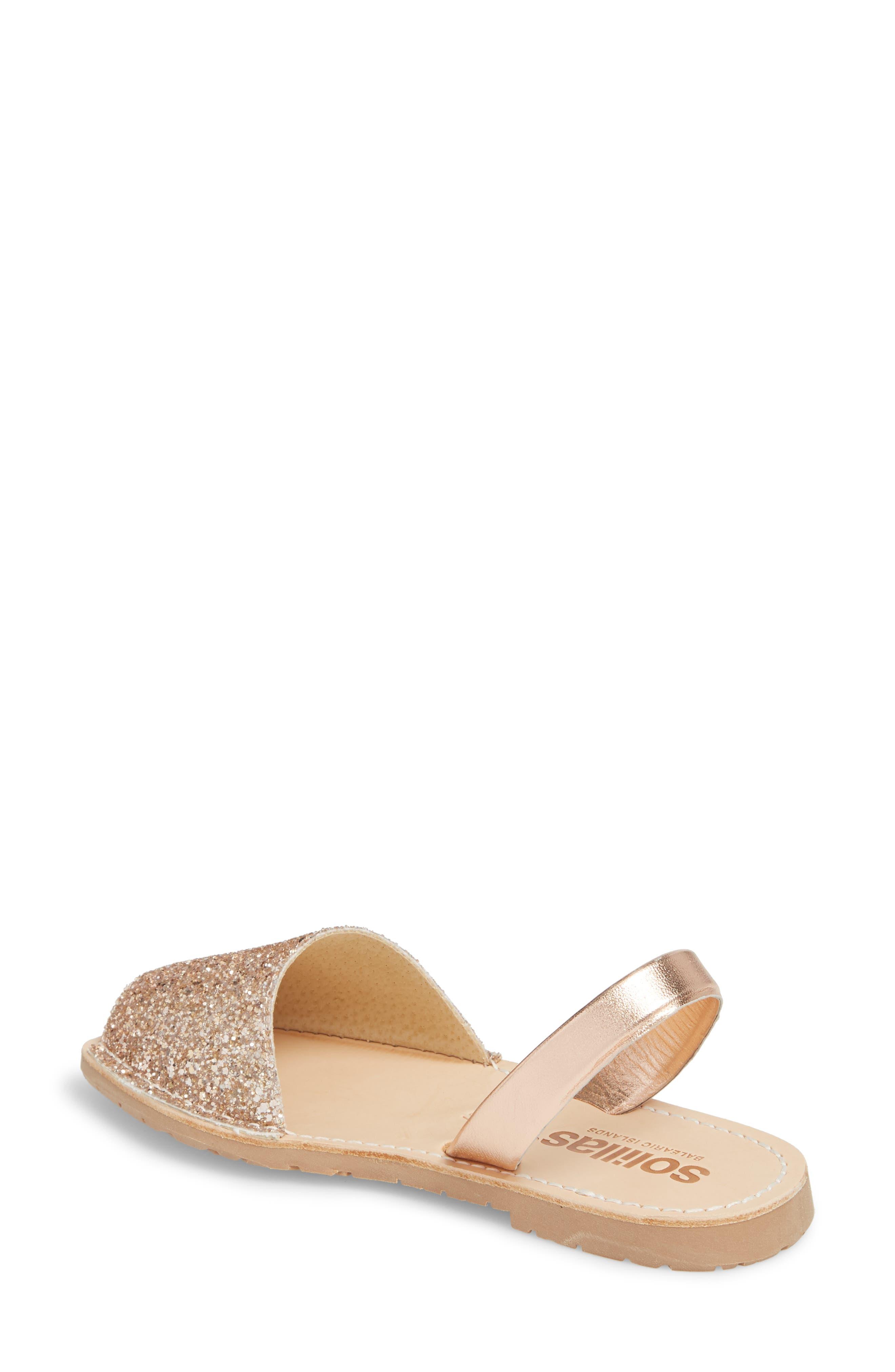Flat Sandal,                             Alternate thumbnail 2, color,                             Rose Gold Leather