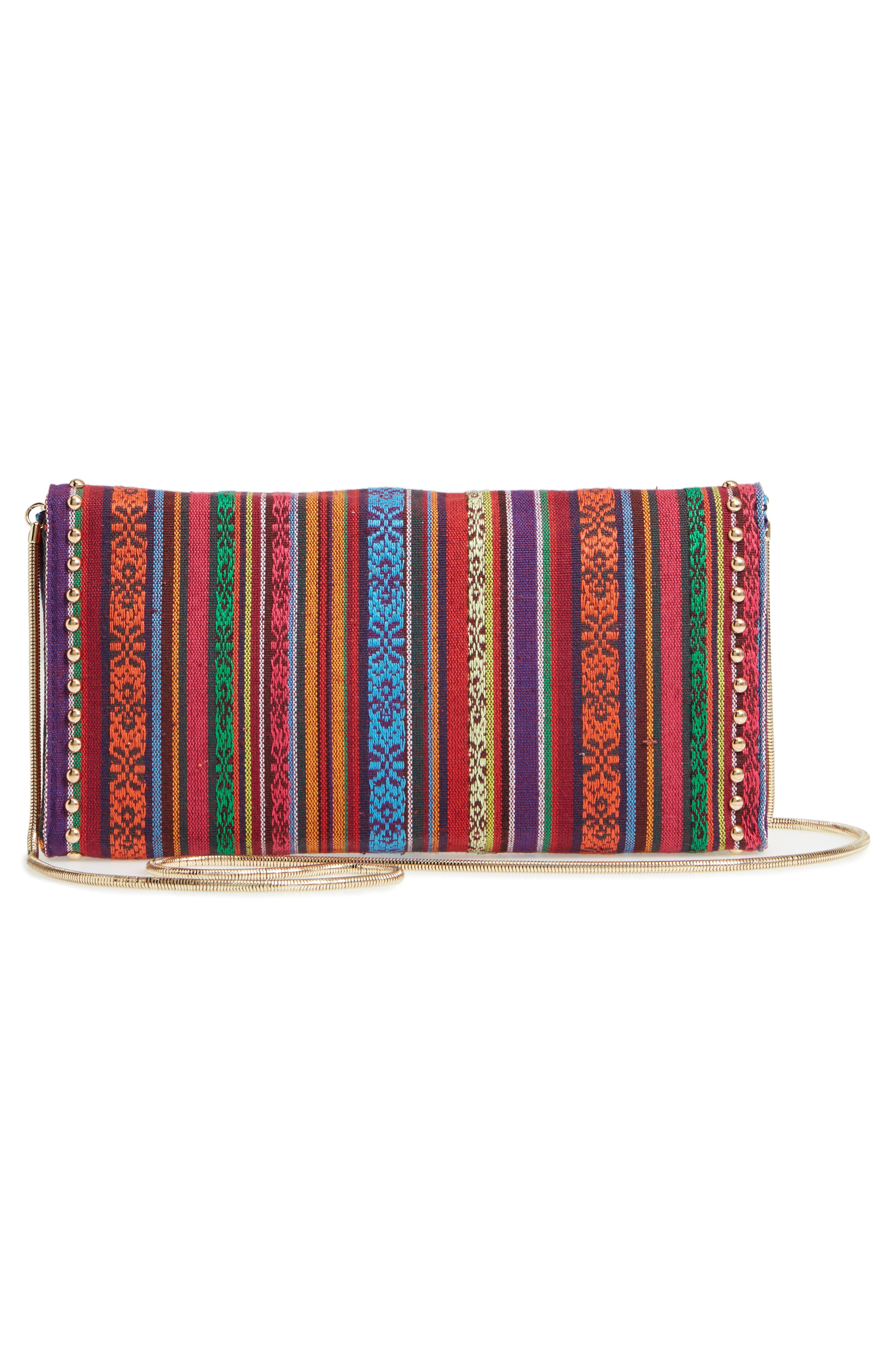 Jacquard Clutch,                             Alternate thumbnail 4, color,                             Red
