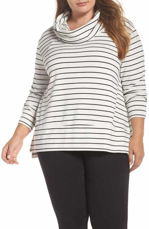 19614188f25 Caslon® Cowl Neck Tunic Sweatshirt (Plus Size)