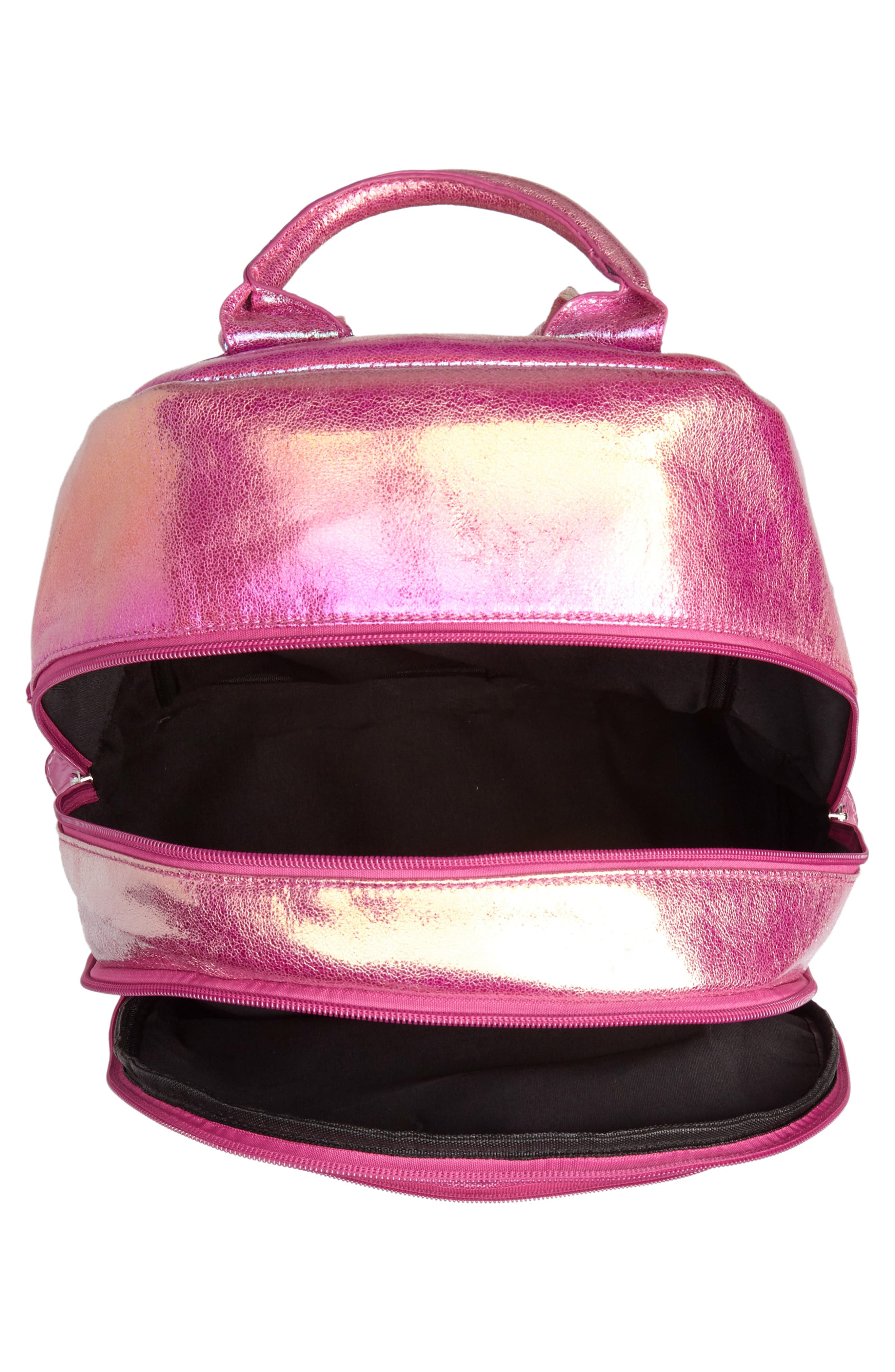 Heart Confetti Holographic Backpack,                             Alternate thumbnail 4, color,                             Pink
