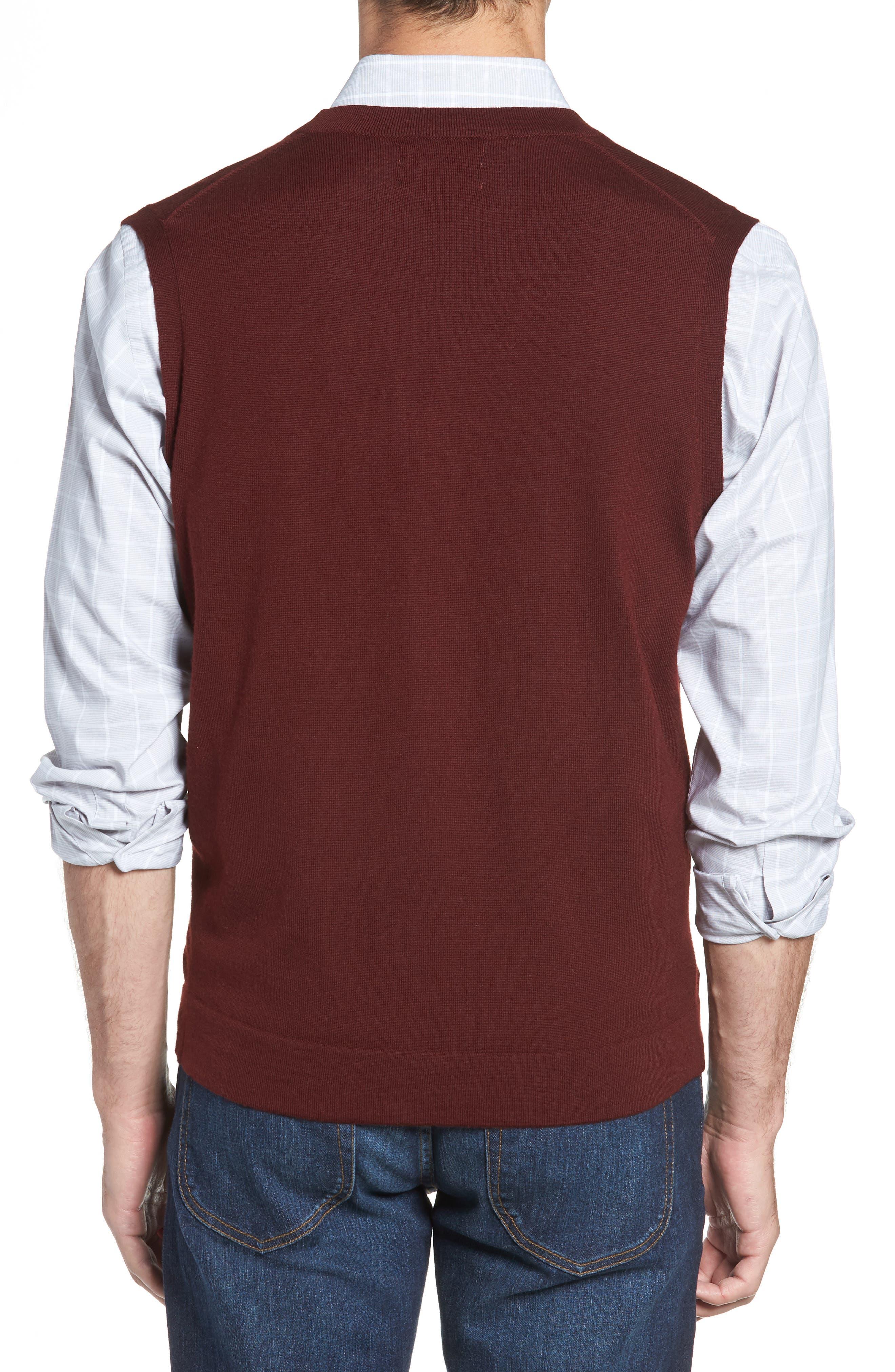 Merino Button Front Sweater Vest,                             Alternate thumbnail 2, color,                             Burgundy Royale