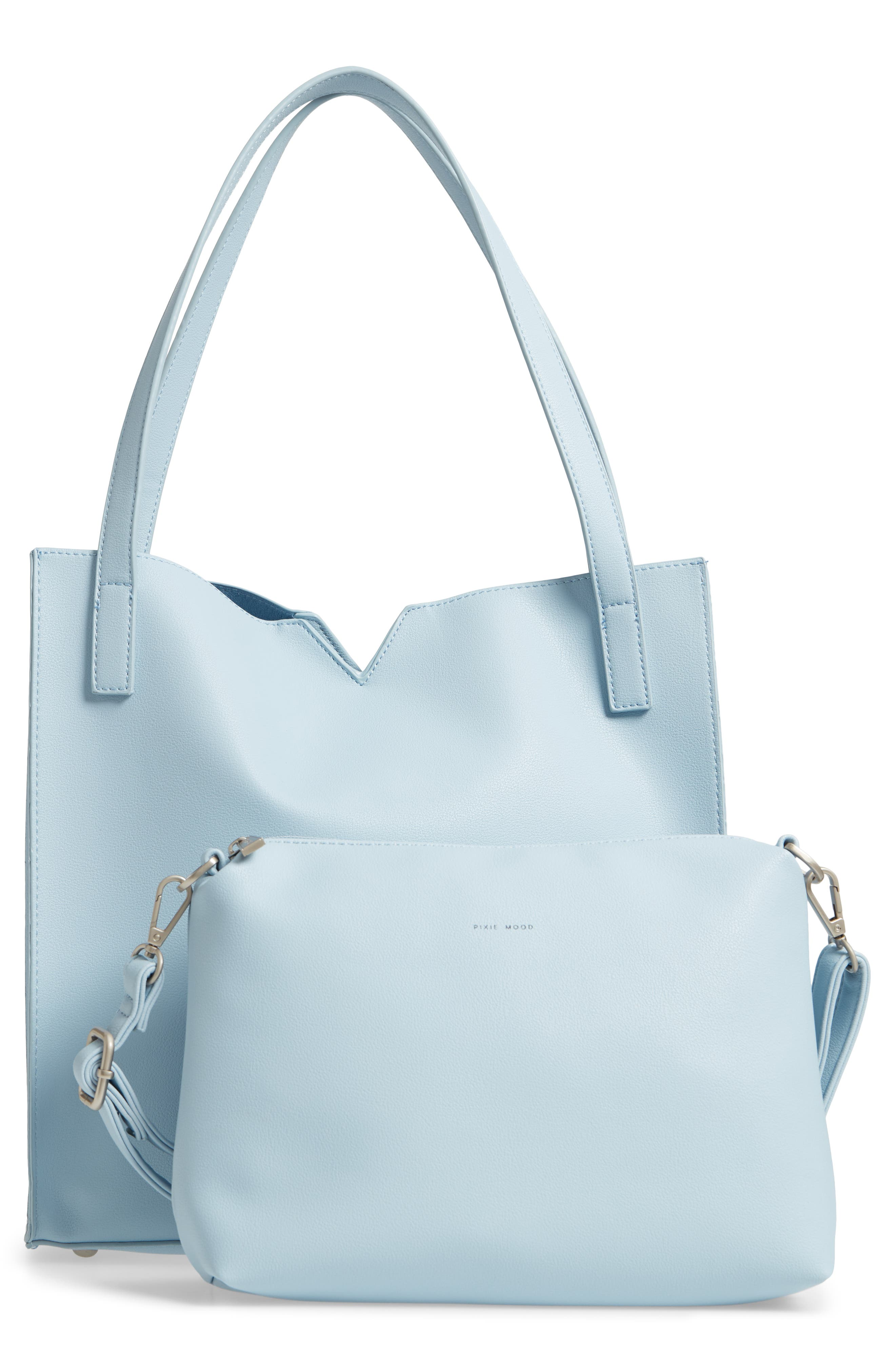 Alicia Faux Leather Tote Bag & Pouch Set,                             Alternate thumbnail 5, color,                             Smokey Blue