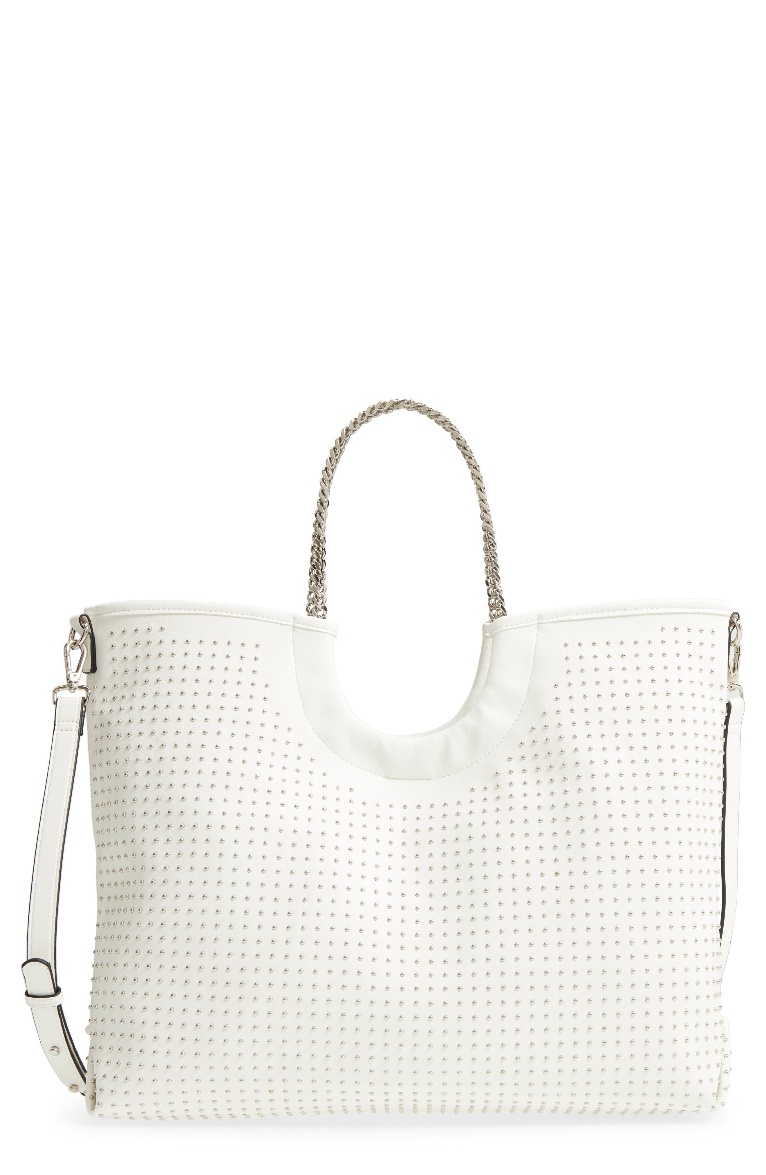PIN STUD FAUX LEATHER TOTE - WHITE