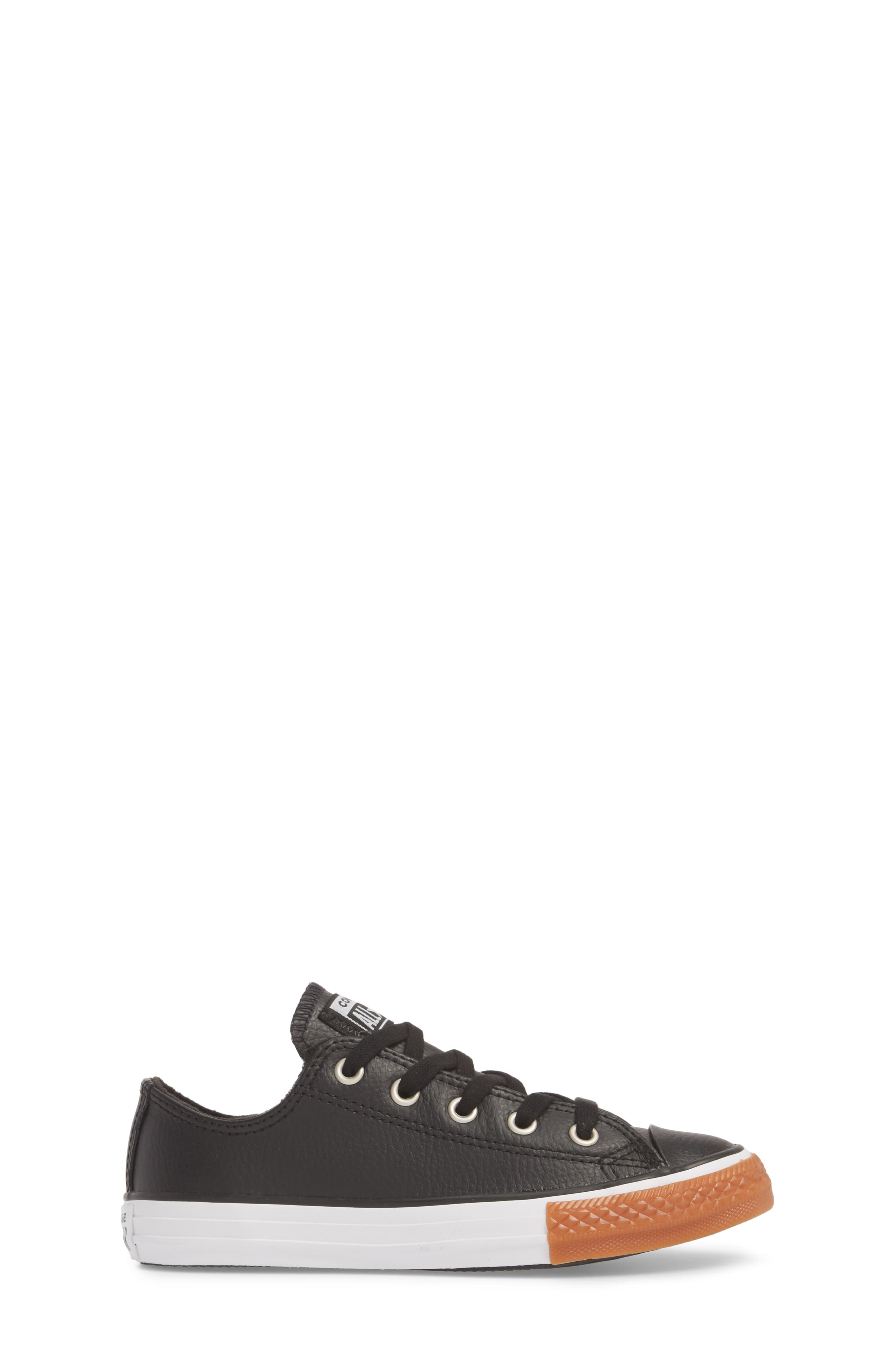 Chuck Taylor<sup>®</sup> All Star<sup>®</sup> Ox Faux Leather Sneaker,                             Alternate thumbnail 3, color,                             Black