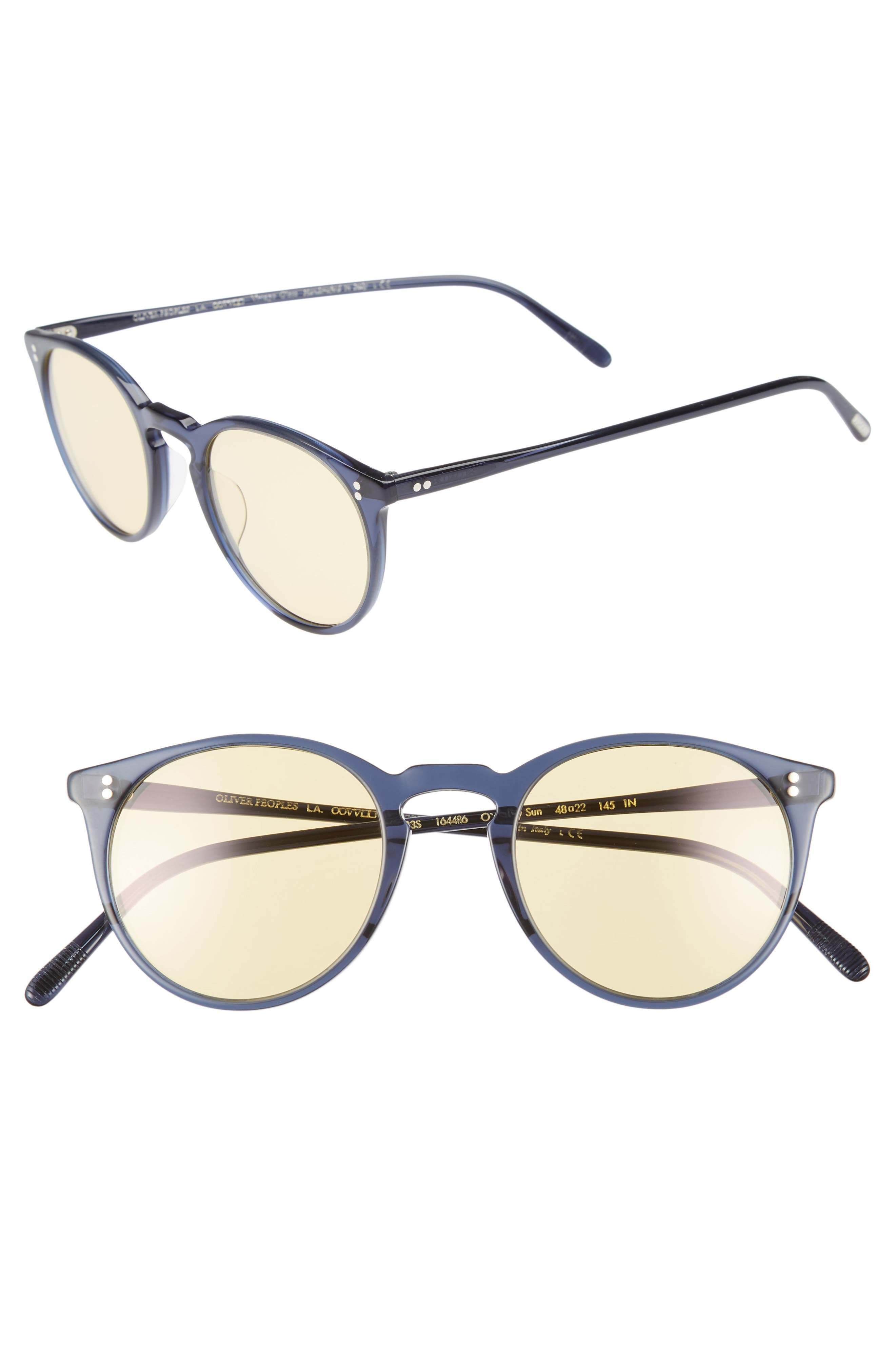 O'Malley 48mm Round Sunglasses,                         Main,                         color, Navy