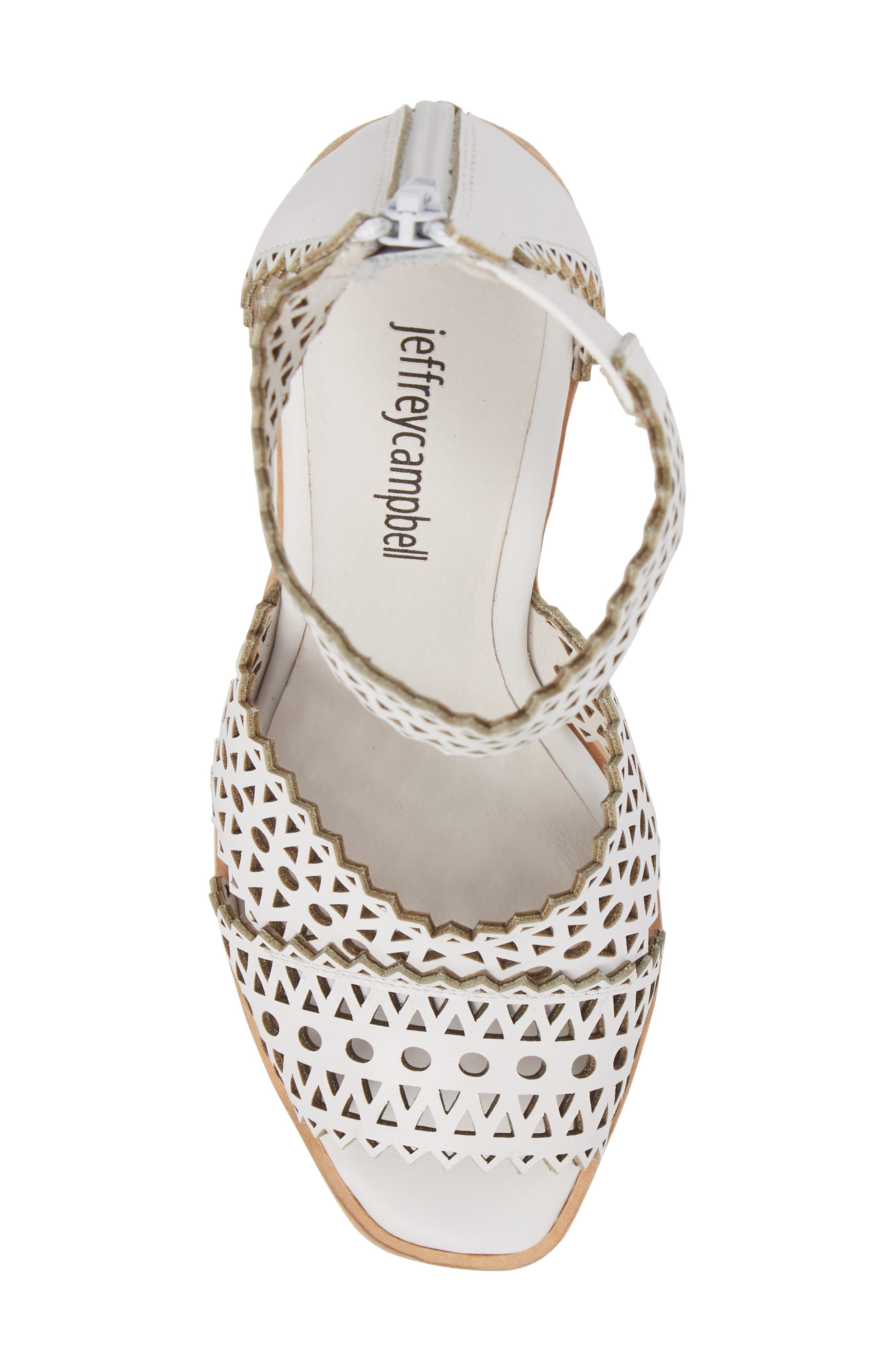 Besante Perforated Wedge Sandal,                             Alternate thumbnail 6, color,                             White