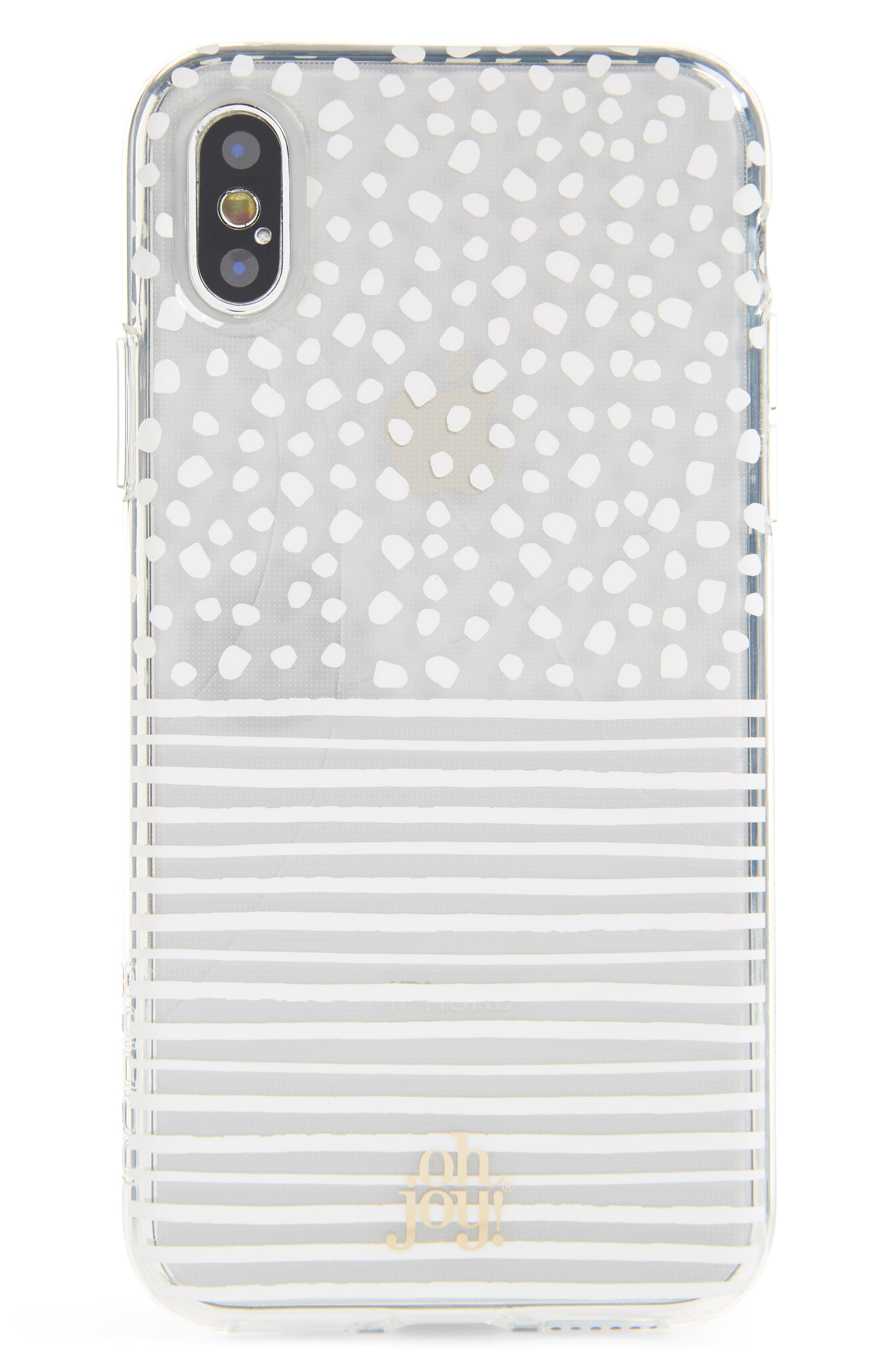 Oh Joy Dots & Stripes iPhone X Case,                             Main thumbnail 1, color,                             White/ Clear