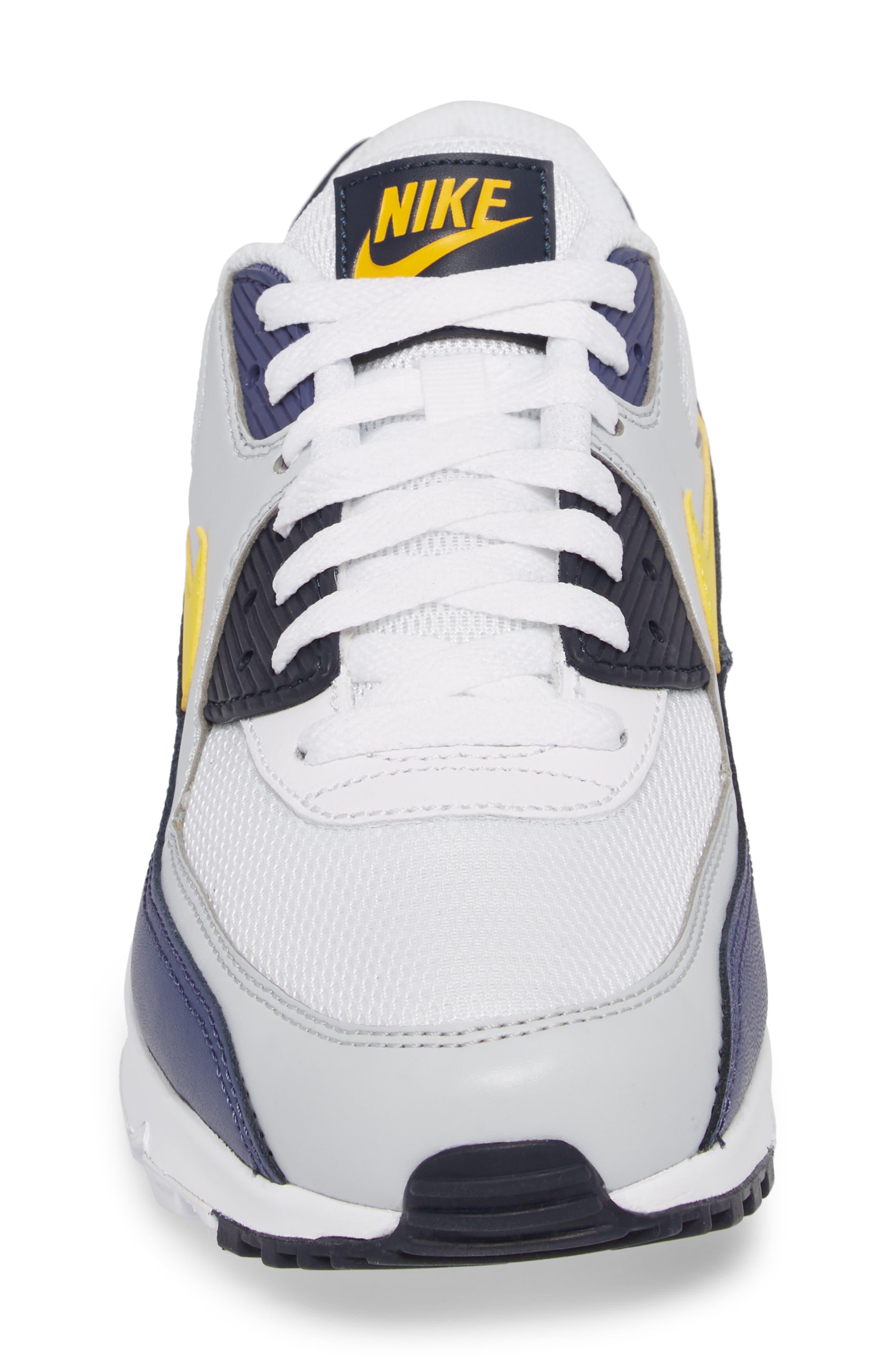 Air Max 90 Essential Sneaker,                             Alternate thumbnail 4, color,                             White/ Tour Yellow/ Blue
