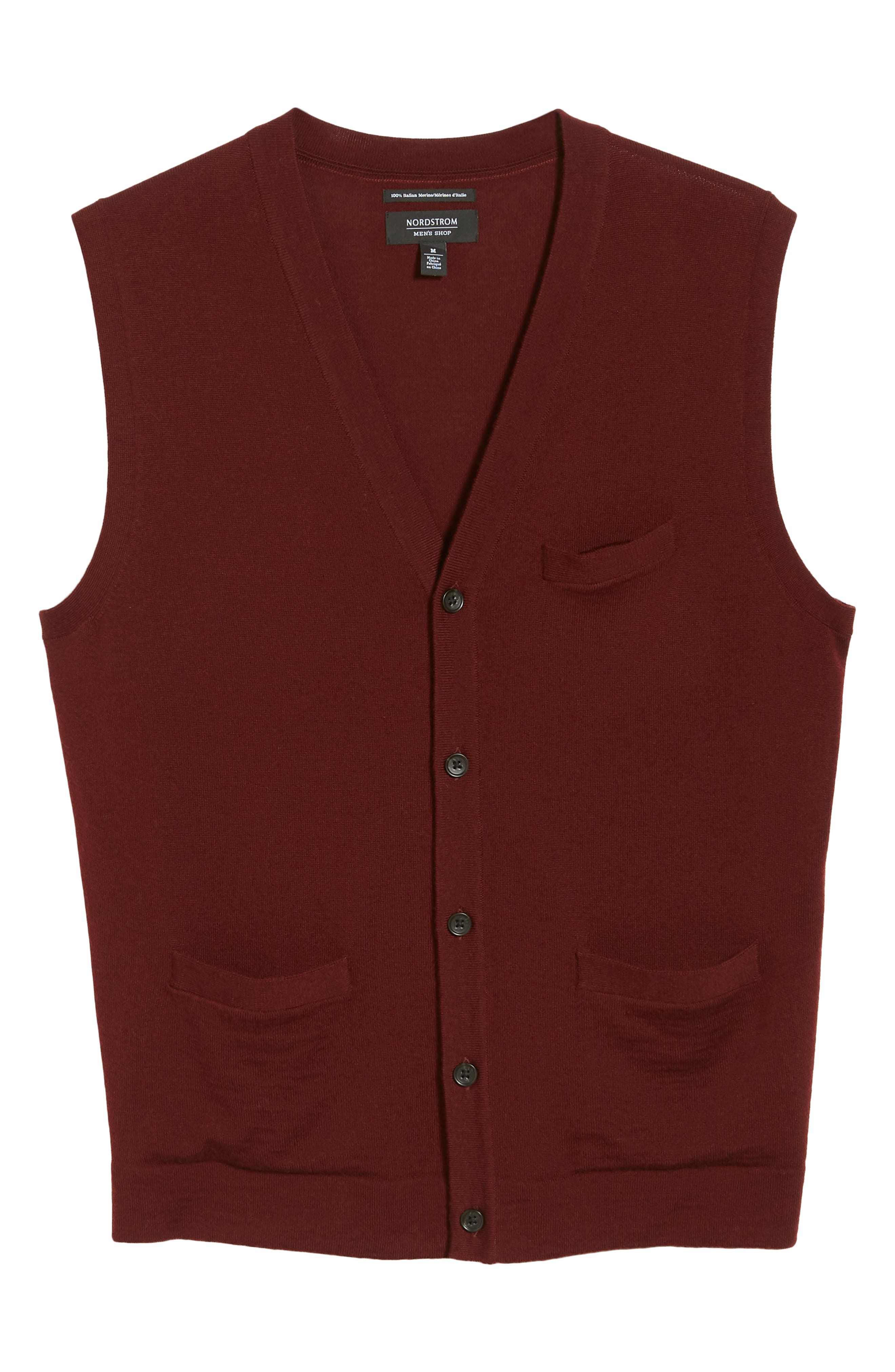Merino Button Front Sweater Vest,                             Alternate thumbnail 6, color,                             Burgundy Royale